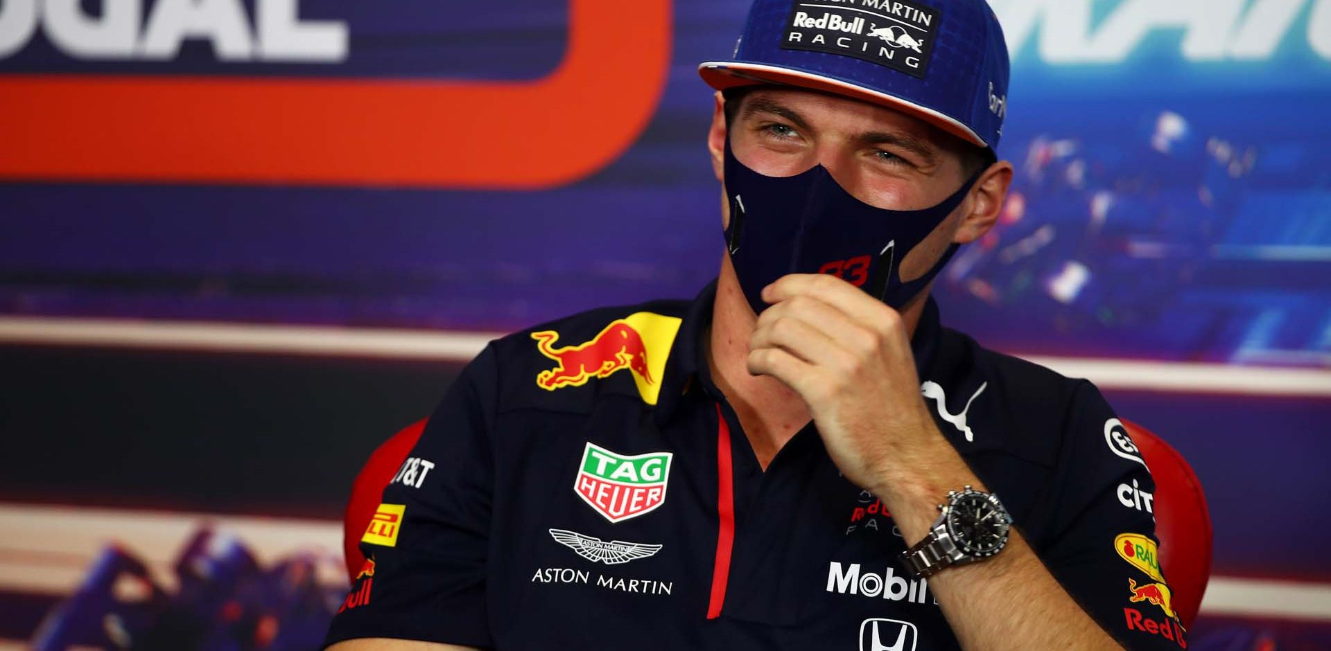 PORTIMAO, PORTUGAL - OCTOBER 22: Max Verstappen of Netherlands and Red Bull Racing talks in the Drivers Press Conference during previews ahead of the F1 Grand Prix of Portugal at Autodromo Internacional do Algarve on October 22, 2020 in Portimao, Portugal. (Photo by Joe Portlock/Getty Images)