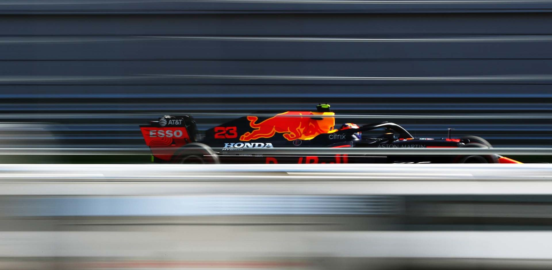 SOCHI, RUSSIA - SEPTEMBER 25: Alexander Albon of Thailand driving the (23) Aston Martin Red Bull Racing RB16 on track during practice ahead of the F1 Grand Prix of Russia at Sochi Autodrom on September 25, 2020 in Sochi, Russia. (Photo by Mark Thompson/Getty Images)