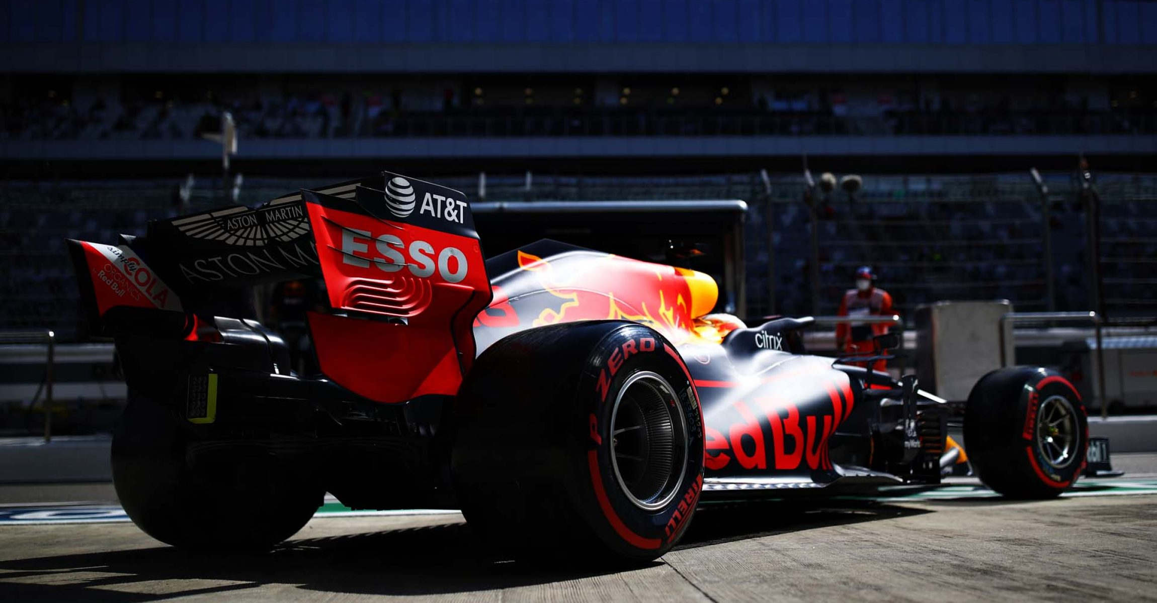 SOCHI, RUSSIA - SEPTEMBER 25: Max Verstappen of the Netherlands driving the (33) Aston Martin Red Bull Racing RB16 leaves the garage during practice ahead of the F1 Grand Prix of Russia at Sochi Autodrom on September 25, 2020 in Sochi, Russia. (Photo by Mark Thompson/Getty Images)