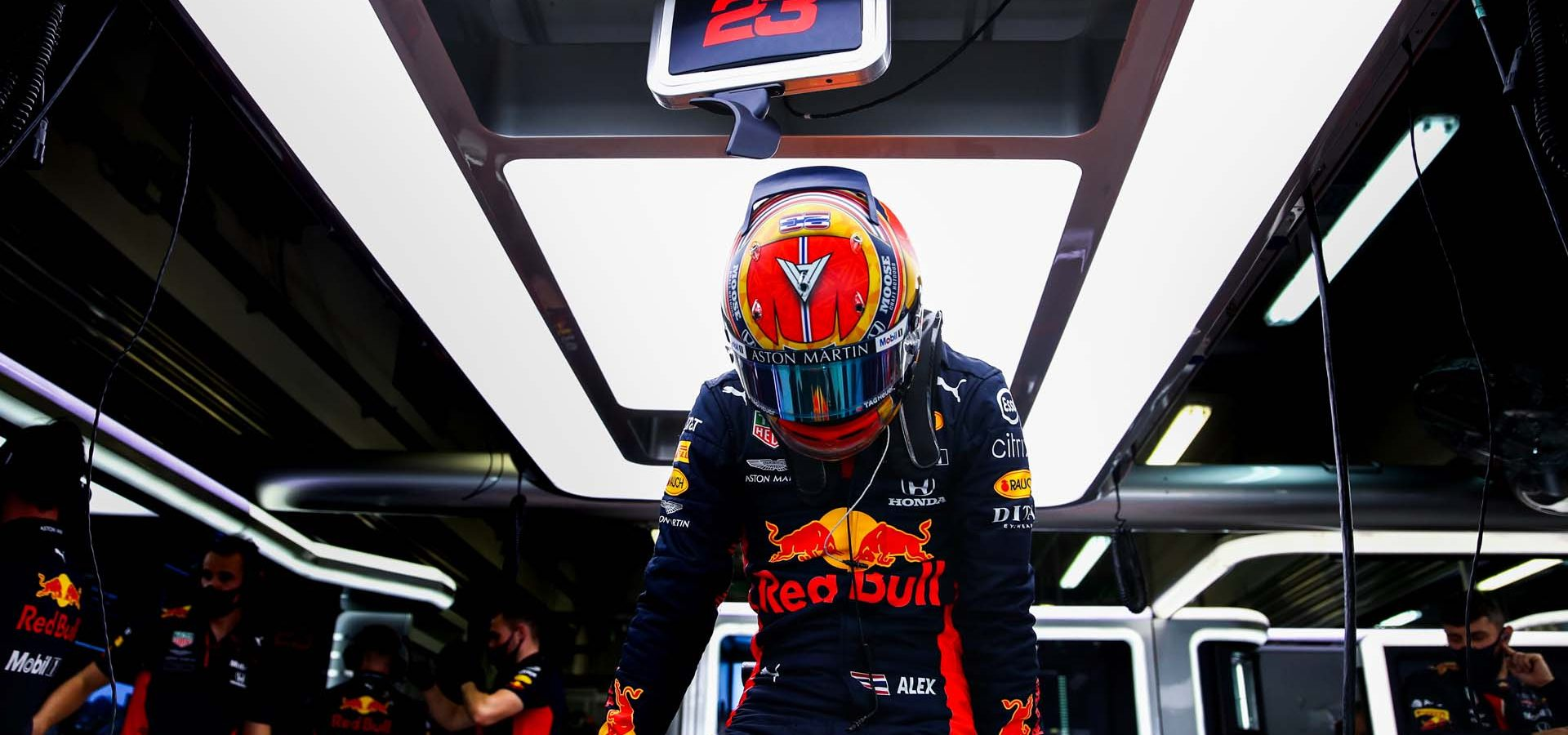 SOCHI, RUSSIA - SEPTEMBER 25: Alexander Albon of Thailand and Red Bull Racing prepares to drive in the garage during practice ahead of the F1 Grand Prix of Russia at Sochi Autodrom on September 25, 2020 in Sochi, Russia. (Photo by Mark Thompson/Getty Images)