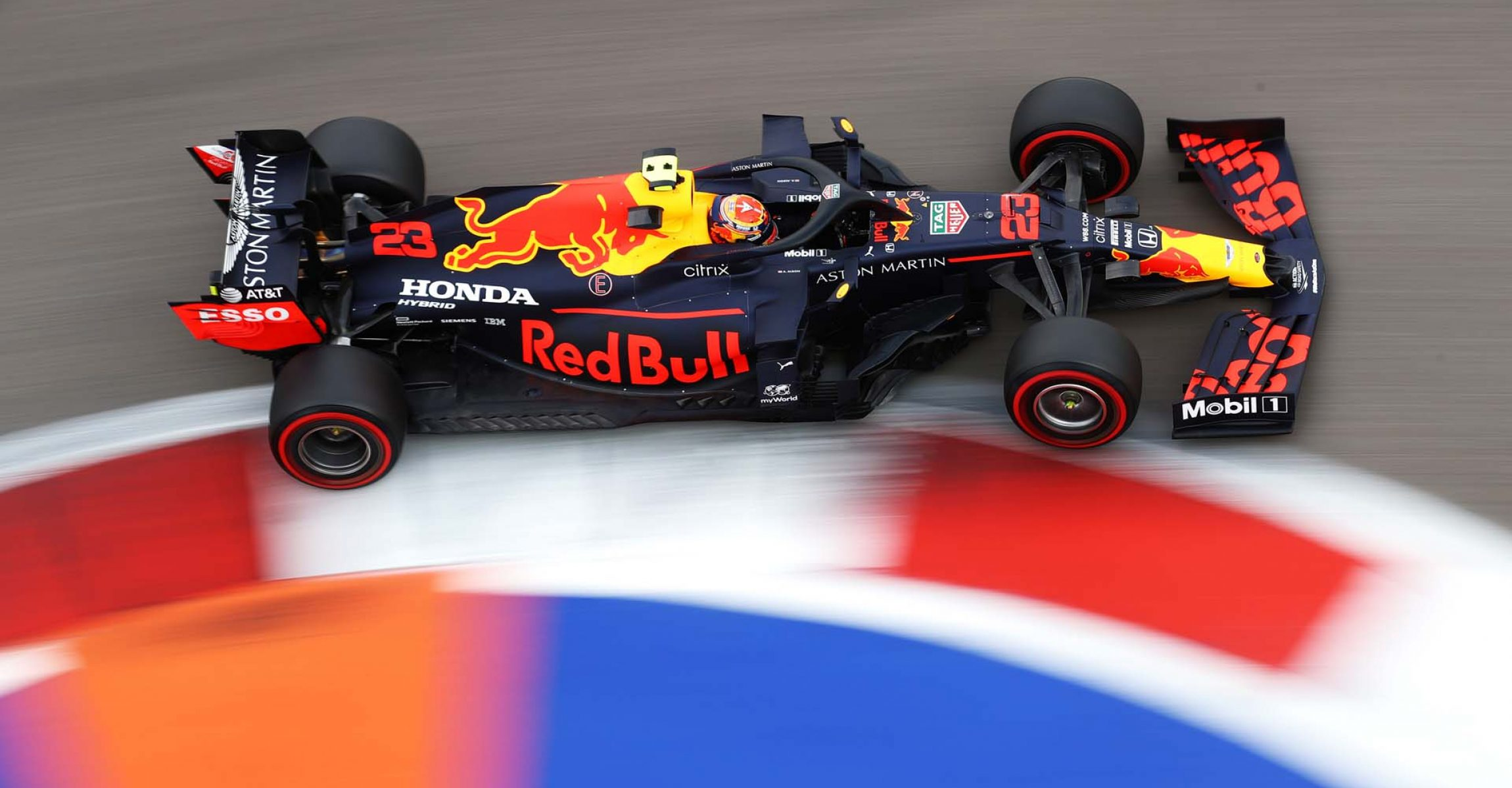 SOCHI, RUSSIA - SEPTEMBER 26: Alexander Albon of Thailand driving the (23) Aston Martin Red Bull Racing RB16 on track during qualifying ahead of the F1 Grand Prix of Russia at Sochi Autodrom on September 26, 2020 in Sochi, Russia. (Photo by Bryn Lennon/Getty Images) // Getty Images / Red Bull Content Pool  // SI202009260187 // Usage for editorial use only //