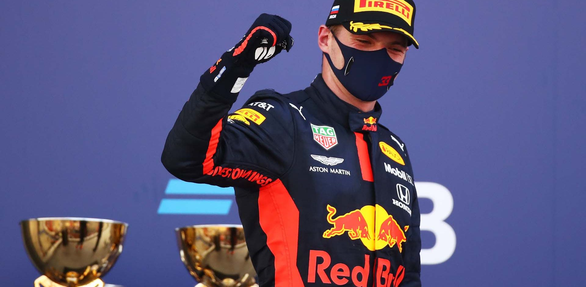 SOCHI, RUSSIA - SEPTEMBER 27: Second placed Max Verstappen of Netherlands and Red Bull Racing celebrates on the podium during the F1 Grand Prix of Russia at Sochi Autodrom on September 27, 2020 in Sochi, Russia. (Photo by Bryn Lennon/Getty Images)