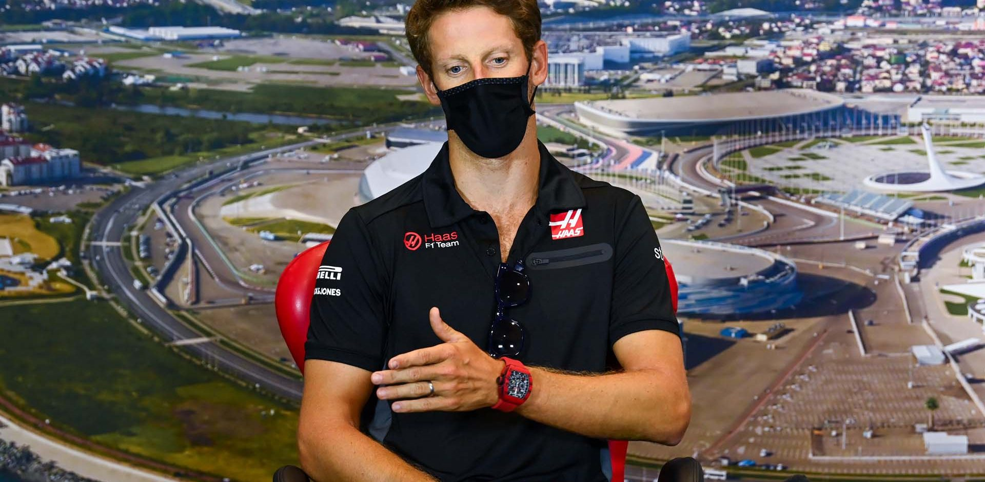 SOCHI AUTODROM, RUSSIAN FEDERATION - SEPTEMBER 24: Romain Grosjean, Haas F1, in the press conference during the Russian GP at Sochi Autodrom on Thursday September 24, 2020 in Sochi, Russian Federation. (Photo by Mark Sutton / Sutton Images)