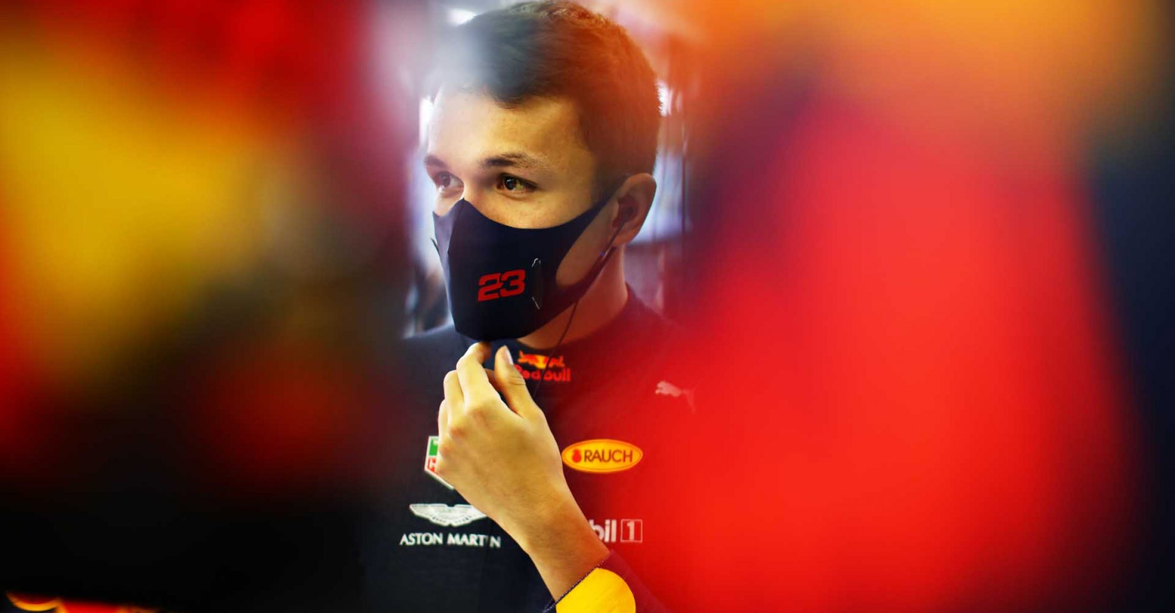 BAHRAIN, BAHRAIN - DECEMBER 04: Alexander Albon of Thailand and Red Bull Racing prepares to drive in the garage during practice ahead of the F1 Grand Prix of Sakhir at Bahrain International Circuit on December 04, 2020 in Bahrain, Bahrain. (Photo by Mark Thompson/Getty Images)