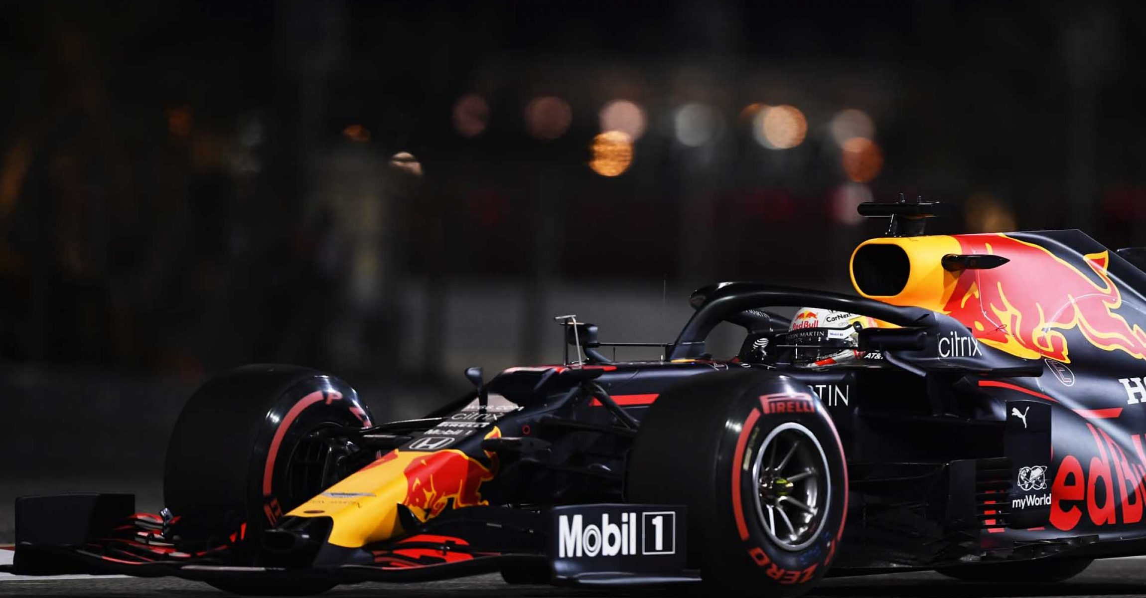 BAHRAIN, BAHRAIN - DECEMBER 04: Max Verstappen of the Netherlands driving the (33) Aston Martin Red Bull Racing RB16 on track during practice ahead of the F1 Grand Prix of Sakhir at Bahrain International Circuit on December 04, 2020 in Bahrain, Bahrain. (Photo by Rudy Carezzevoli/Getty Images)