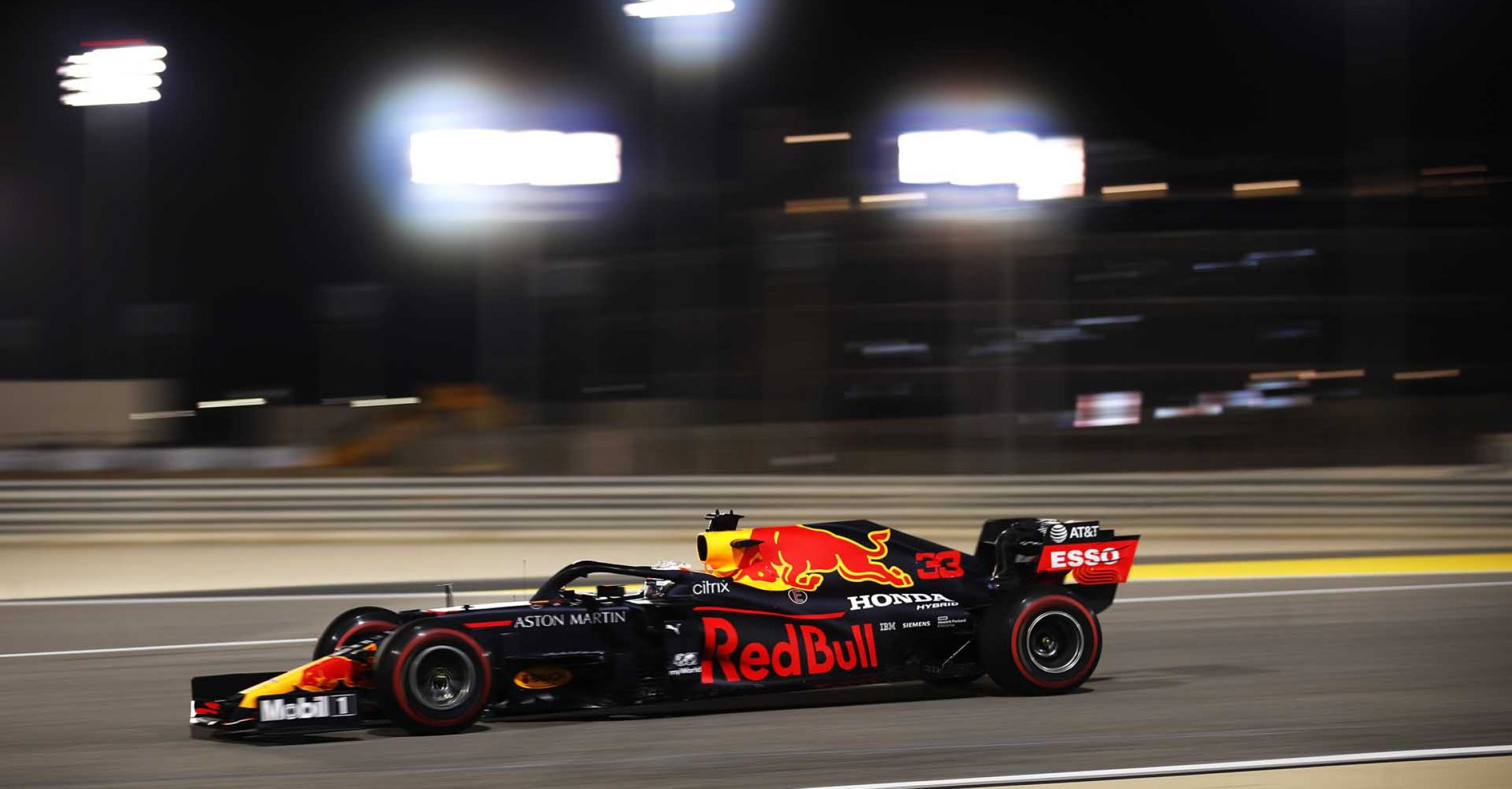 BAHRAIN, BAHRAIN - DECEMBER 04: Max Verstappen of the Netherlands driving the (33) Aston Martin Red Bull Racing RB16 on track during practice ahead of the F1 Grand Prix of Sakhir at Bahrain International Circuit on December 04, 2020 in Bahrain, Bahrain. (Photo by Hamad I Mohammed - Pool/Getty Images)