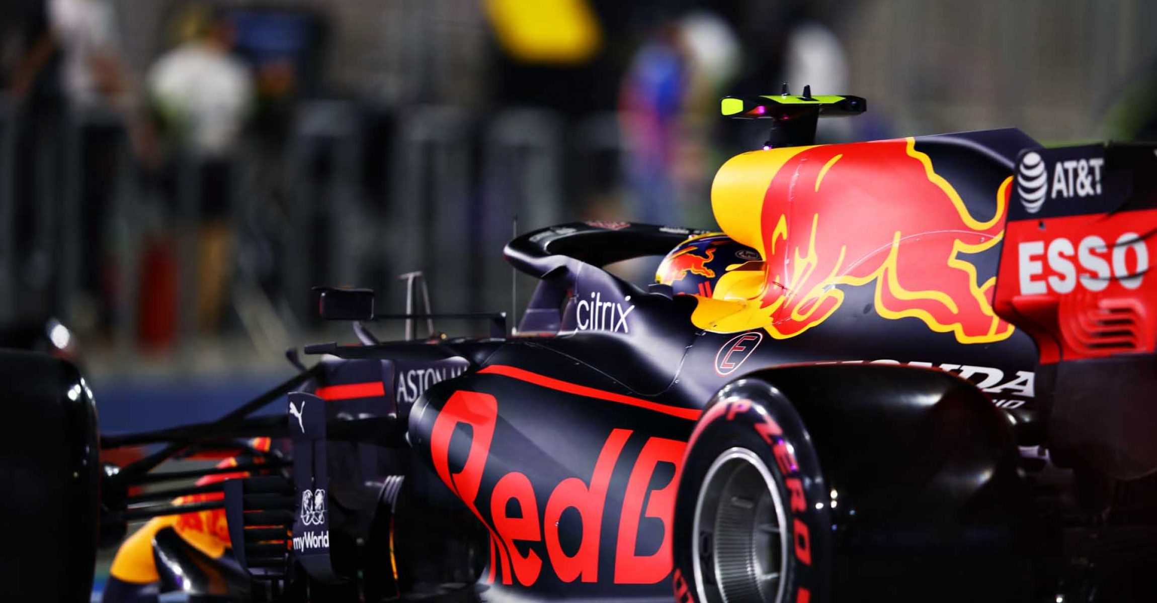 BAHRAIN, BAHRAIN - DECEMBER 05: Alexander Albon of Thailand driving the (23) Aston Martin Red Bull Racing RB16 leaves the garage during qualifying ahead of the F1 Grand Prix of Sakhir at Bahrain International Circuit on December 05, 2020 in Bahrain, Bahrain. (Photo by Mark Thompson/Getty Images)
