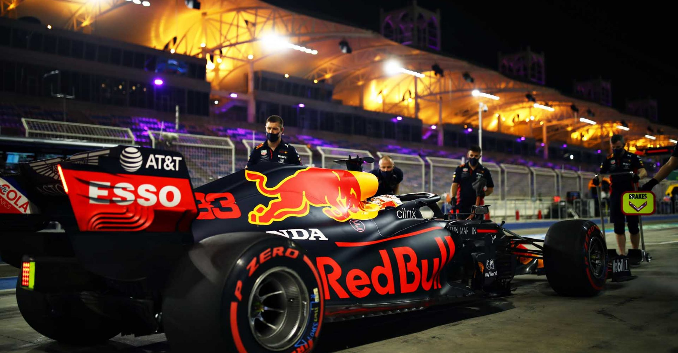 BAHRAIN, BAHRAIN - DECEMBER 05: Max Verstappen of the Netherlands driving the (33) Aston Martin Red Bull Racing RB16 stops in the Pitlane during qualifying ahead of the F1 Grand Prix of Sakhir at Bahrain International Circuit on December 05, 2020 in Bahrain, Bahrain. (Photo by Mark Thompson/Getty Images)