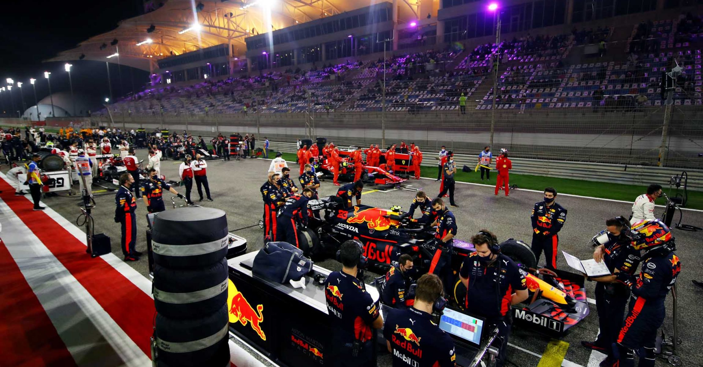 BAHRAIN, BAHRAIN - DECEMBER 06: A general view as Alexander Albon of Thailand and Red Bull Racing prepares to drive on the grid before the F1 Grand Prix of Sakhir at Bahrain International Circuit on December 06, 2020 in Bahrain, Bahrain. (Photo by Mark Thompson/Getty Images)