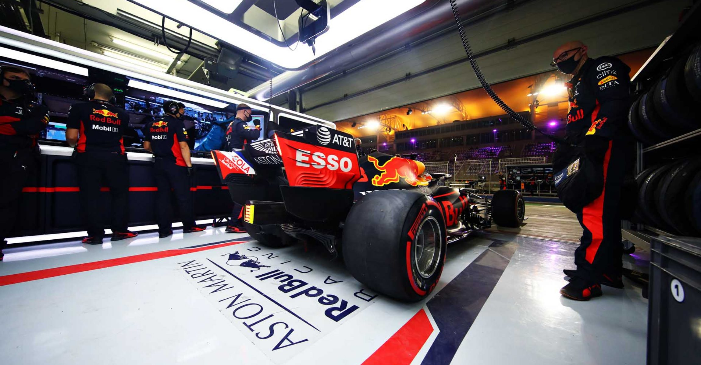 BAHRAIN, BAHRAIN - DECEMBER 06: Max Verstappen of the Netherlands driving the (33) Aston Martin Red Bull Racing RB16 leaves the garage during the F1 Grand Prix of Sakhir at Bahrain International Circuit on December 06, 2020 in Bahrain, Bahrain. (Photo by Mark Thompson/Getty Images)