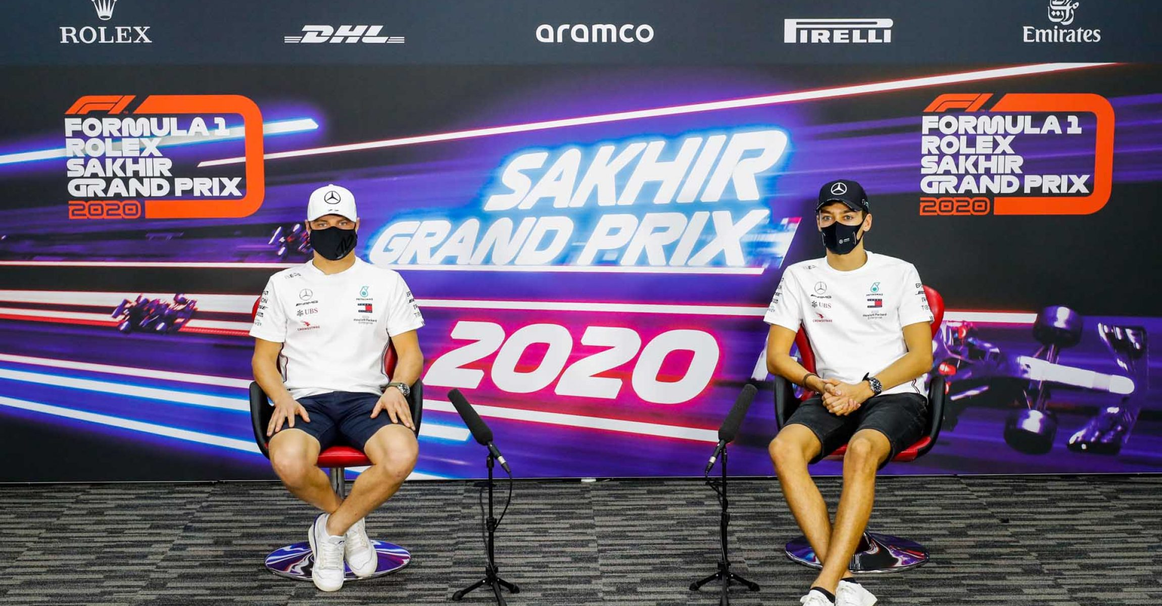 2020 Sakhir Grand Prix, Thursday – LAT Images Valtteri Bottas George Russell Mercedes