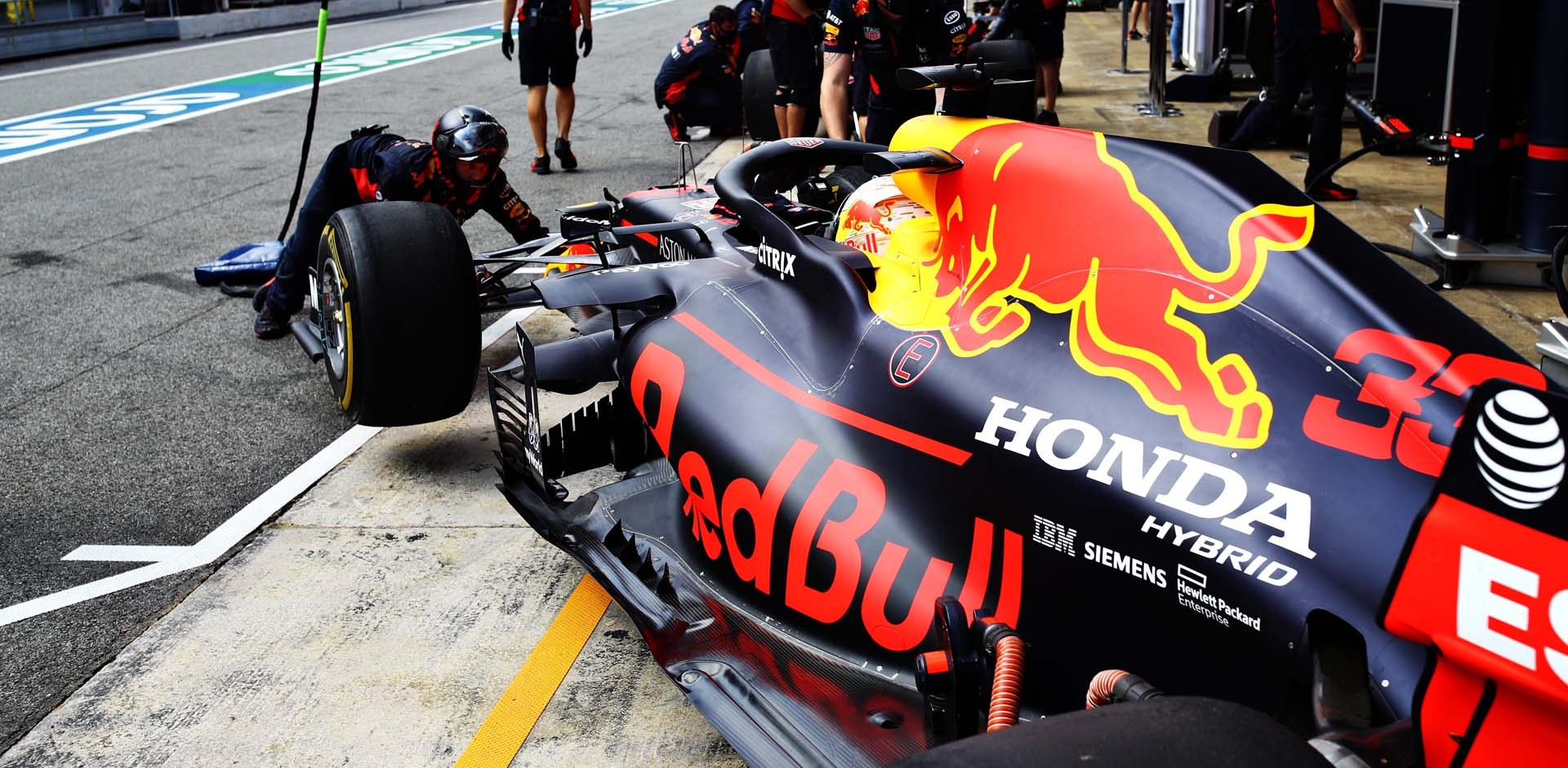 BARCELONA, SPAIN - AUGUST 14: Max Verstappen of the Netherlands driving the (33) Aston Martin Red Bull Racing RB16 is pushed back into the garage during practice for the F1 Grand Prix of Spain at Circuit de Barcelona-Catalunya on August 14, 2020 in Barcelona, Spain. (Photo by Mark Thompson/Getty Images)