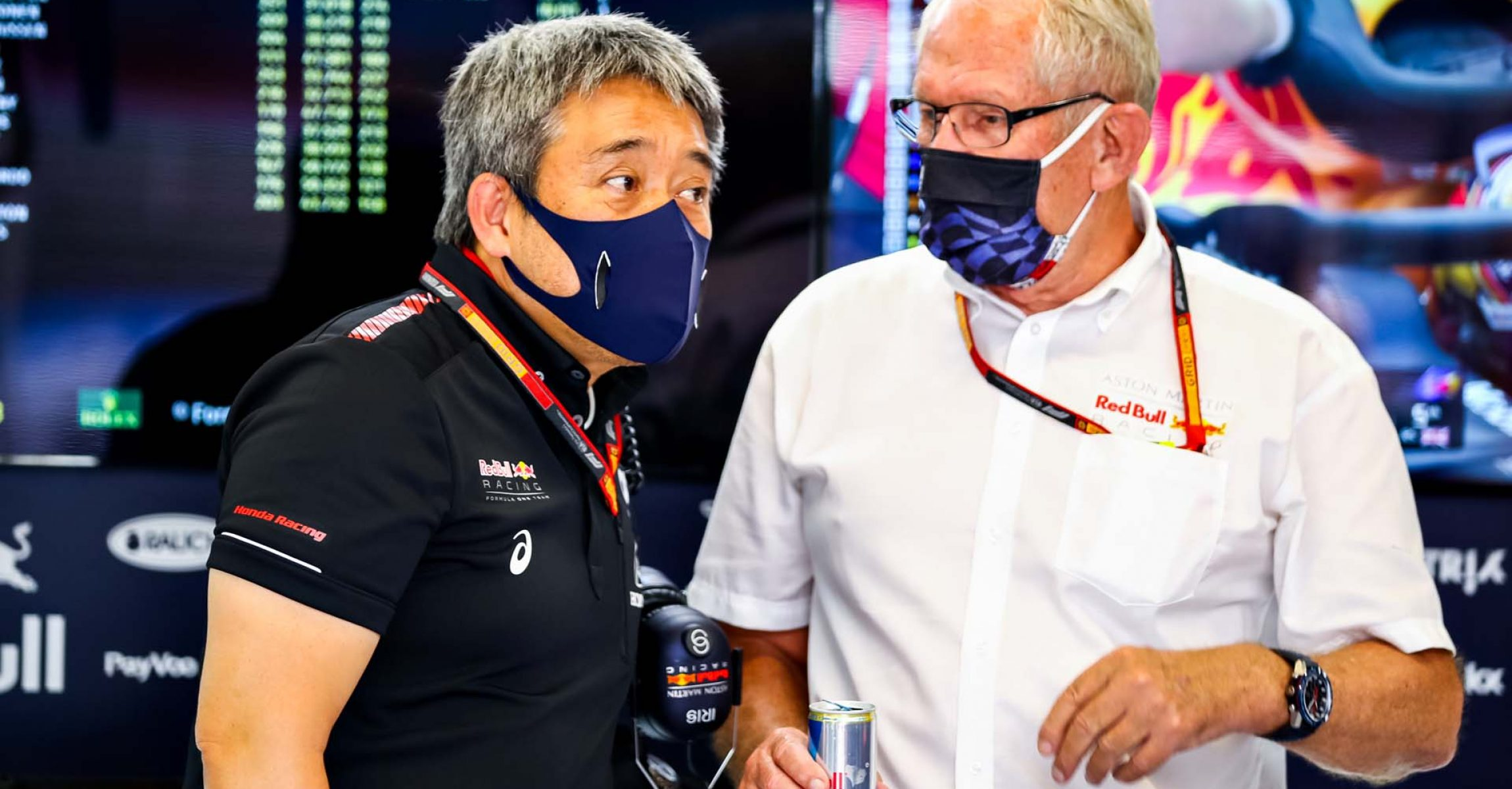 BARCELONA, SPAIN - AUGUST 14: Red Bull Racing Team Consultant Dr Helmut Marko and Masashi Yamamoto of Honda talk in the garage during practice for the F1 Grand Prix of Spain at Circuit de Barcelona-Catalunya on August 14, 2020 in Barcelona, Spain. (Photo by Mark Thompson/Getty Images)