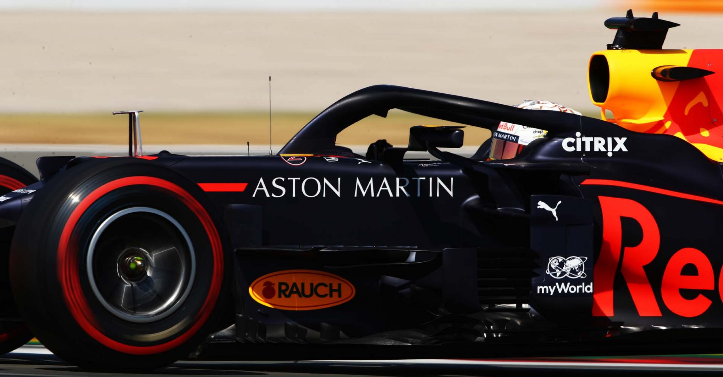 BARCELONA, SPAIN - AUGUST 14: Max Verstappen of the Netherlands driving the (33) Aston Martin Red Bull Racing RB16 on track during practice for the F1 Grand Prix of Spain at Circuit de Barcelona-Catalunya on August 14, 2020 in Barcelona, Spain. (Photo by Bryn Lennon/Getty Images)