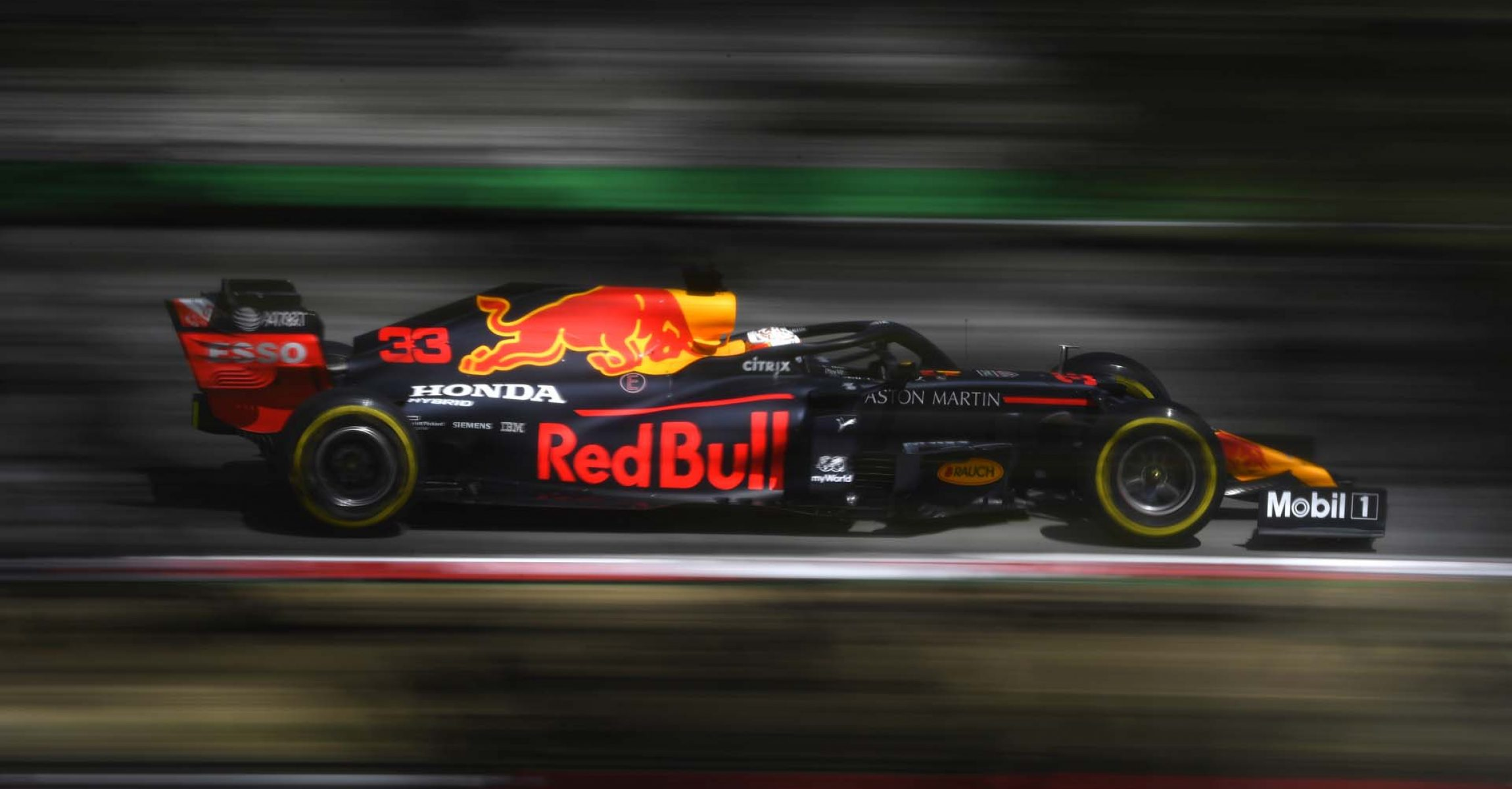 BARCELONA, SPAIN - AUGUST 14: Max Verstappen of the Netherlands driving the (33) Aston Martin Red Bull Racing RB16 on track during practice for the F1 Grand Prix of Spain at Circuit de Barcelona-Catalunya on August 14, 2020 in Barcelona, Spain. (Photo by Rudy Carezzevoli/Getty Images)