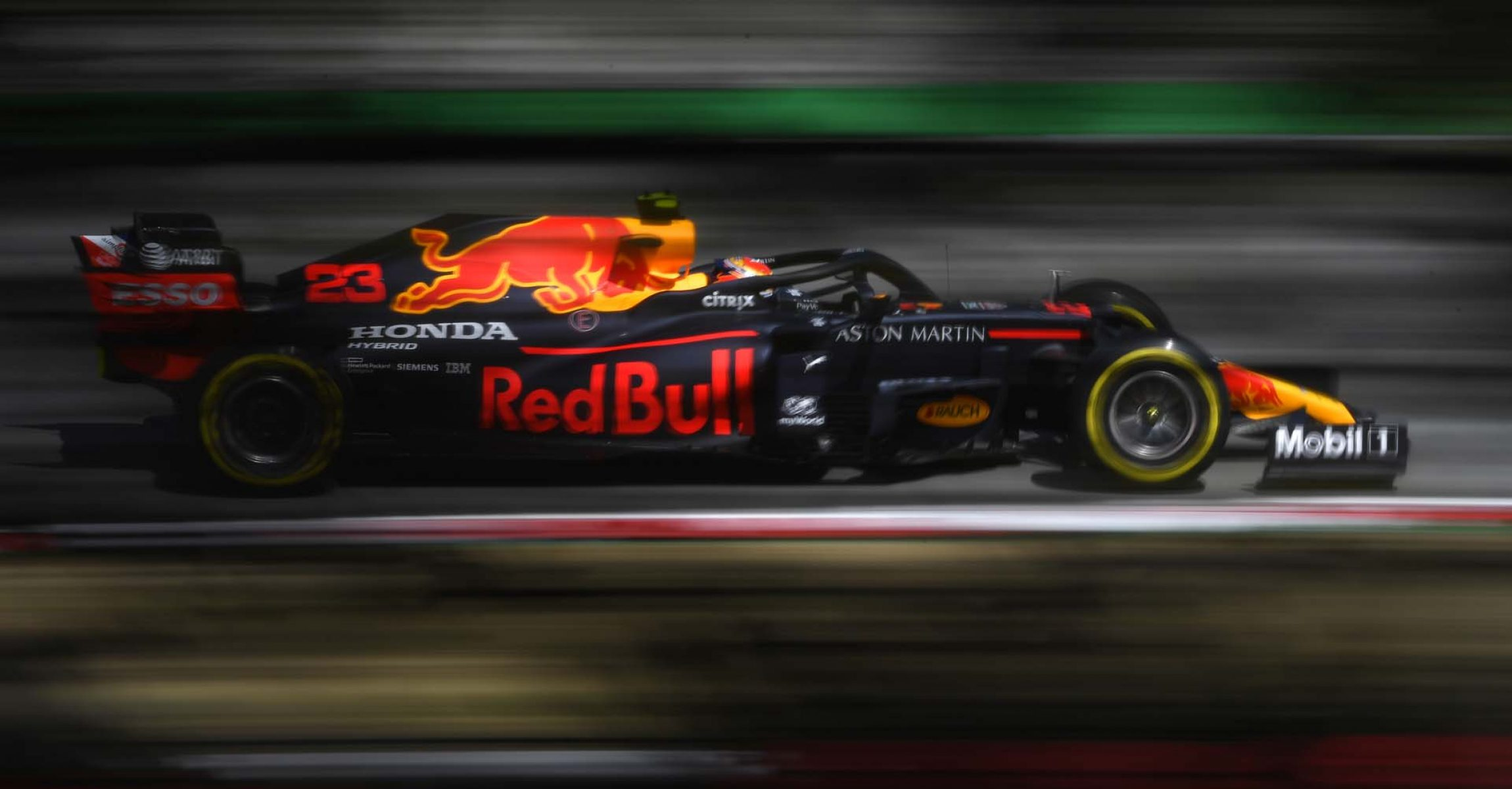 BARCELONA, SPAIN - AUGUST 14: Alexander Albon of Thailand driving the (23) Aston Martin Red Bull Racing RB16 on track during practice for the F1 Grand Prix of Spain at Circuit de Barcelona-Catalunya on August 14, 2020 in Barcelona, Spain. (Photo by Rudy Carezzevoli/Getty Images)