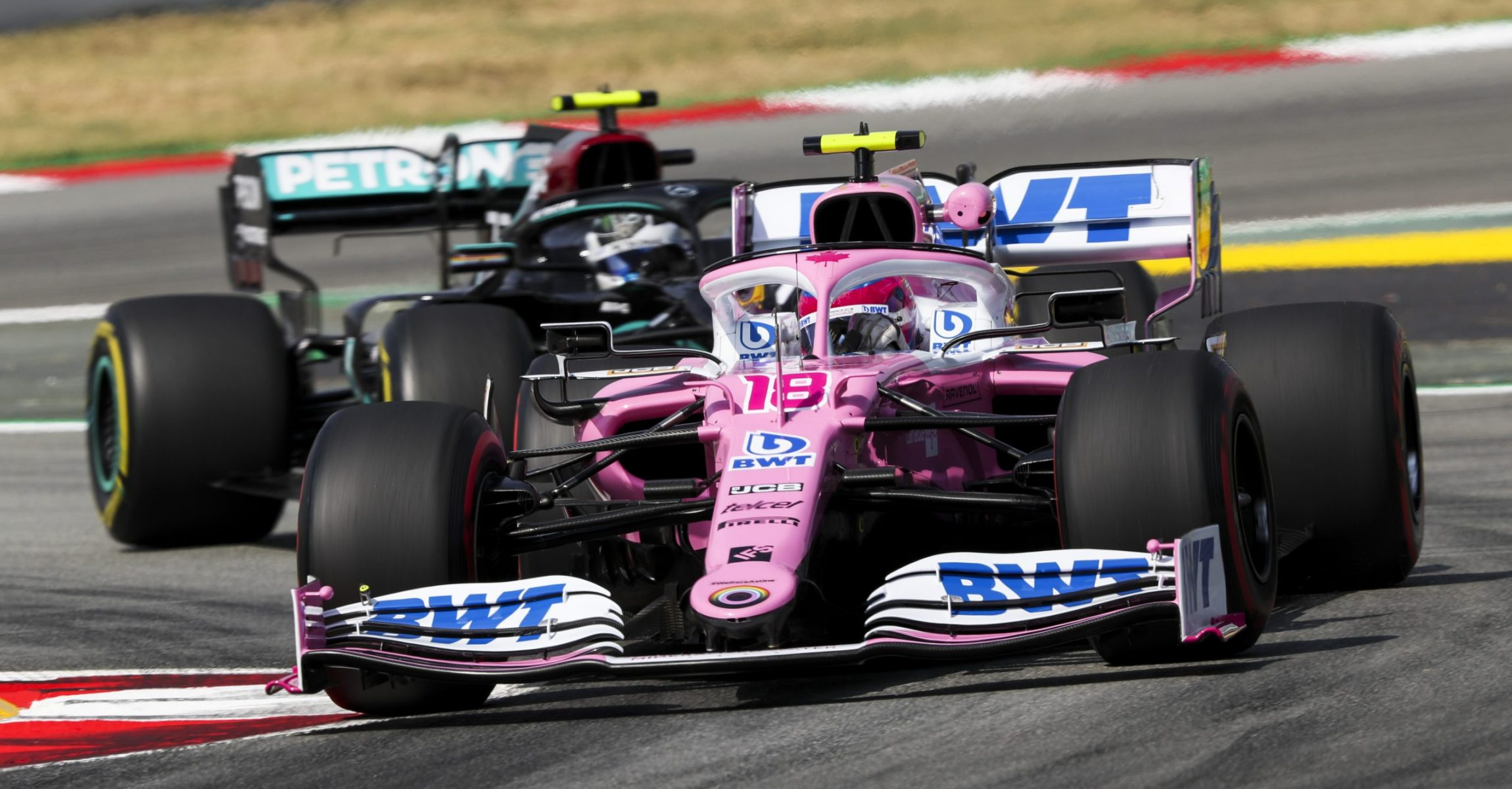 Lance Stroll, Racing Point RP20, leads Valtteri Bottas, Mercedes F1 W11 EQ Performance