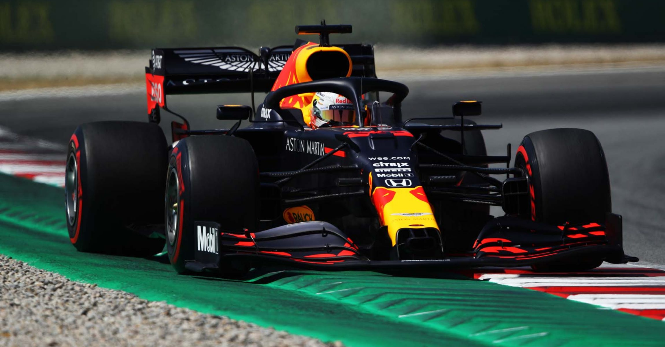 BARCELONA, SPAIN - AUGUST 15: Max Verstappen of the Netherlands driving the (33) Aston Martin Red Bull Racing RB16 on track during final practice for the F1 Grand Prix of Spain at Circuit de Barcelona-Catalunya on August 15, 2020 in Barcelona, Spain. (Photo by Bryn Lennon/Getty Images)