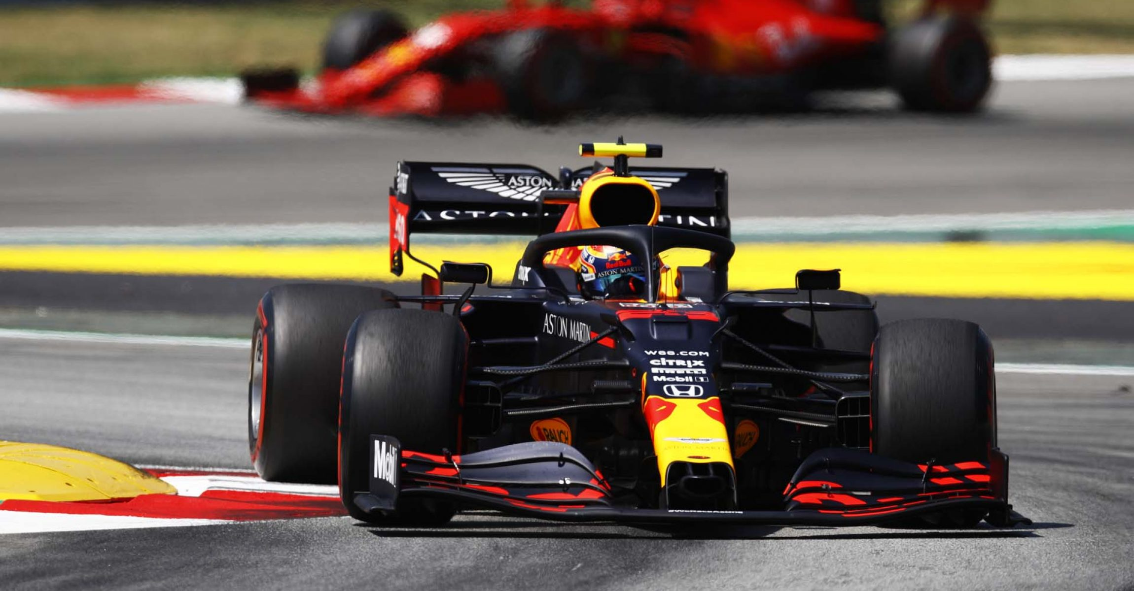 BARCELONA, SPAIN - AUGUST 15: Alexander Albon of Thailand driving the (23) Aston Martin Red Bull Racing RB16 on track during final practice for the F1 Grand Prix of Spain at Circuit de Barcelona-Catalunya on August 15, 2020 in Barcelona, Spain. (Photo by Alejandro Garcia/Pool via Getty Images)