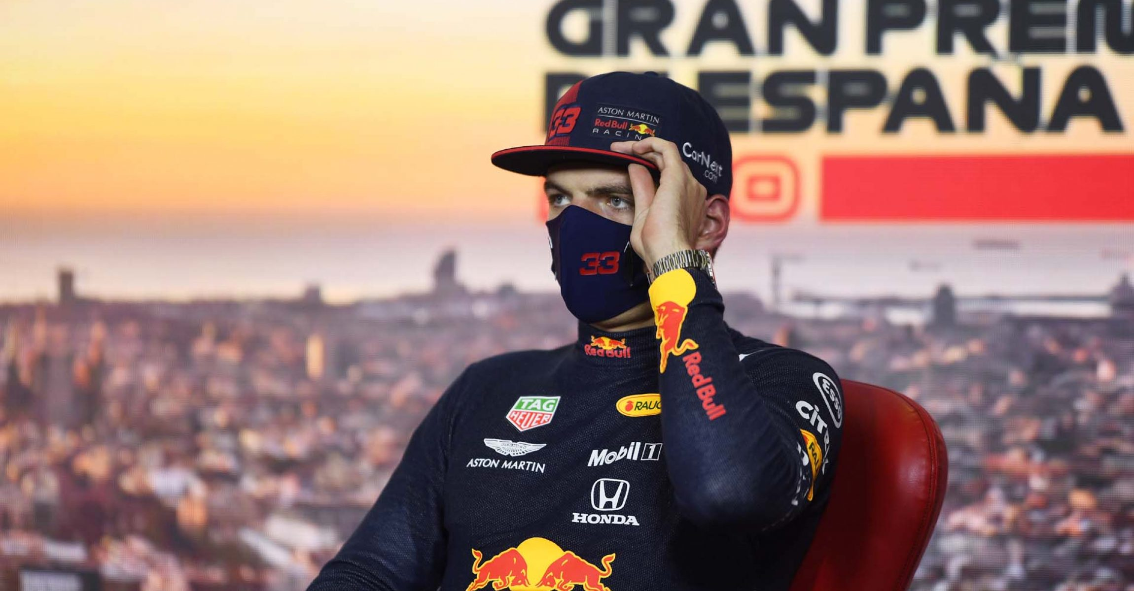 BARCELONA, SPAIN - AUGUST 15: Third placed qualifier Max Verstappen of Netherlands and Red Bull Racing talks in the Drivers Press Conference during qualifying for the F1 Grand Prix of Spain at Circuit de Barcelona-Catalunya on August 15, 2020 in Barcelona, Spain. (Photo by Rudy Carezzevoli/Getty Images)