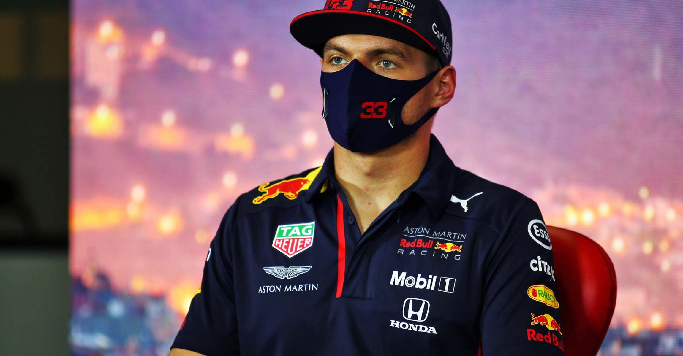 BARCELONA, SPAIN - AUGUST 13: Max Verstappen of Netherlands and Red Bull Racing talks in the Drivers Press Conference during previews ahead of the F1 Grand Prix of Spain at Circuit de Barcelona-Catalunya on August 13, 2020 in Barcelona, Spain. (Photo by Joao Beato/Pool via Getty Images)