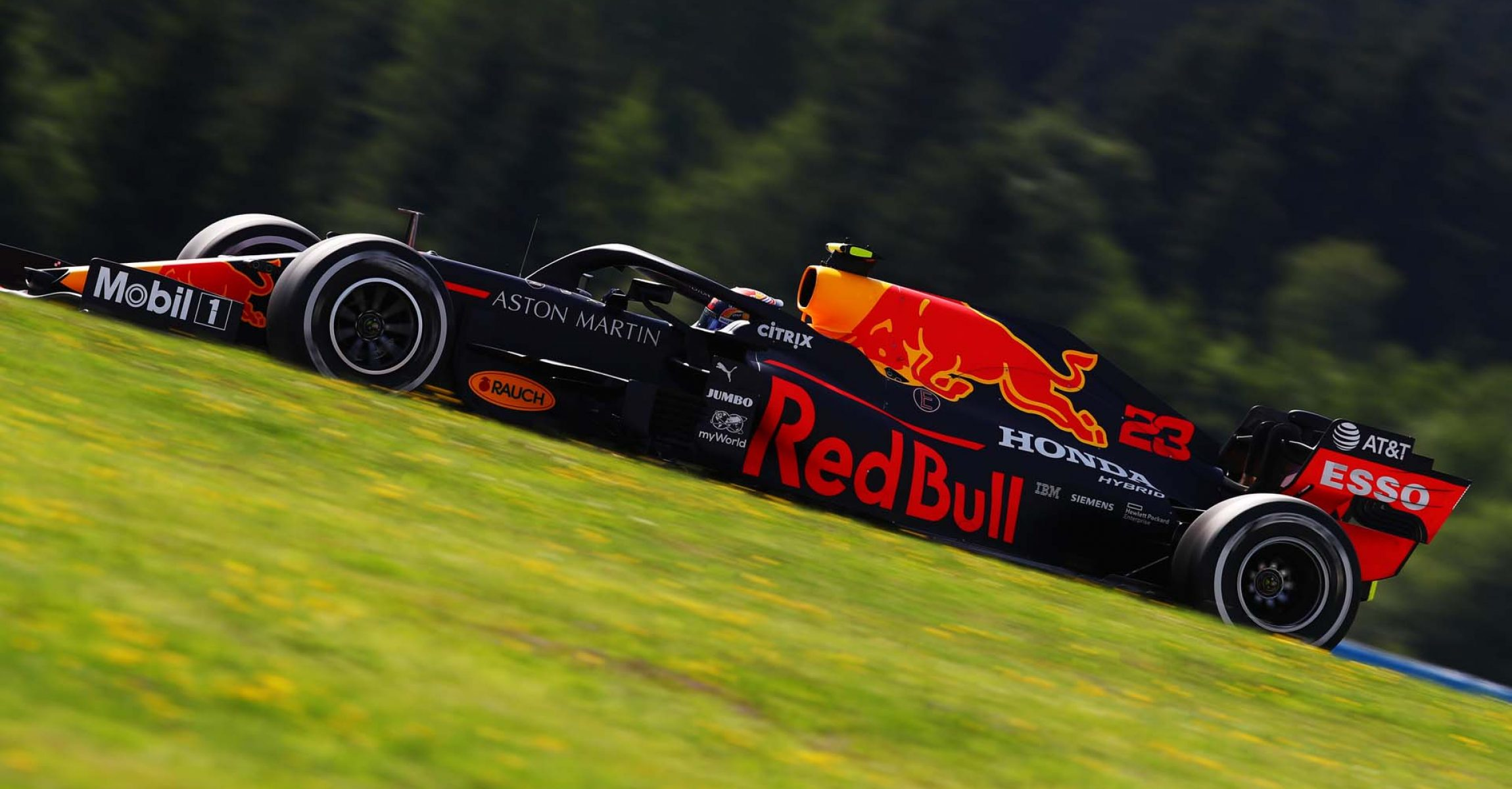 SPIELBERG, AUSTRIA - JULY 10: Alexander Albon of Thailand driving the (23) Aston Martin Red Bull Racing RB16 on track during practice for the F1 Grand Prix of Styria at Red Bull Ring on July 10, 2020 in Spielberg, Austria. (Photo by Mark Thompson/Getty Images) // Getty Images / Red Bull Content Pool // AP-24KAAF4RD2111 // Usage for editorial use only //