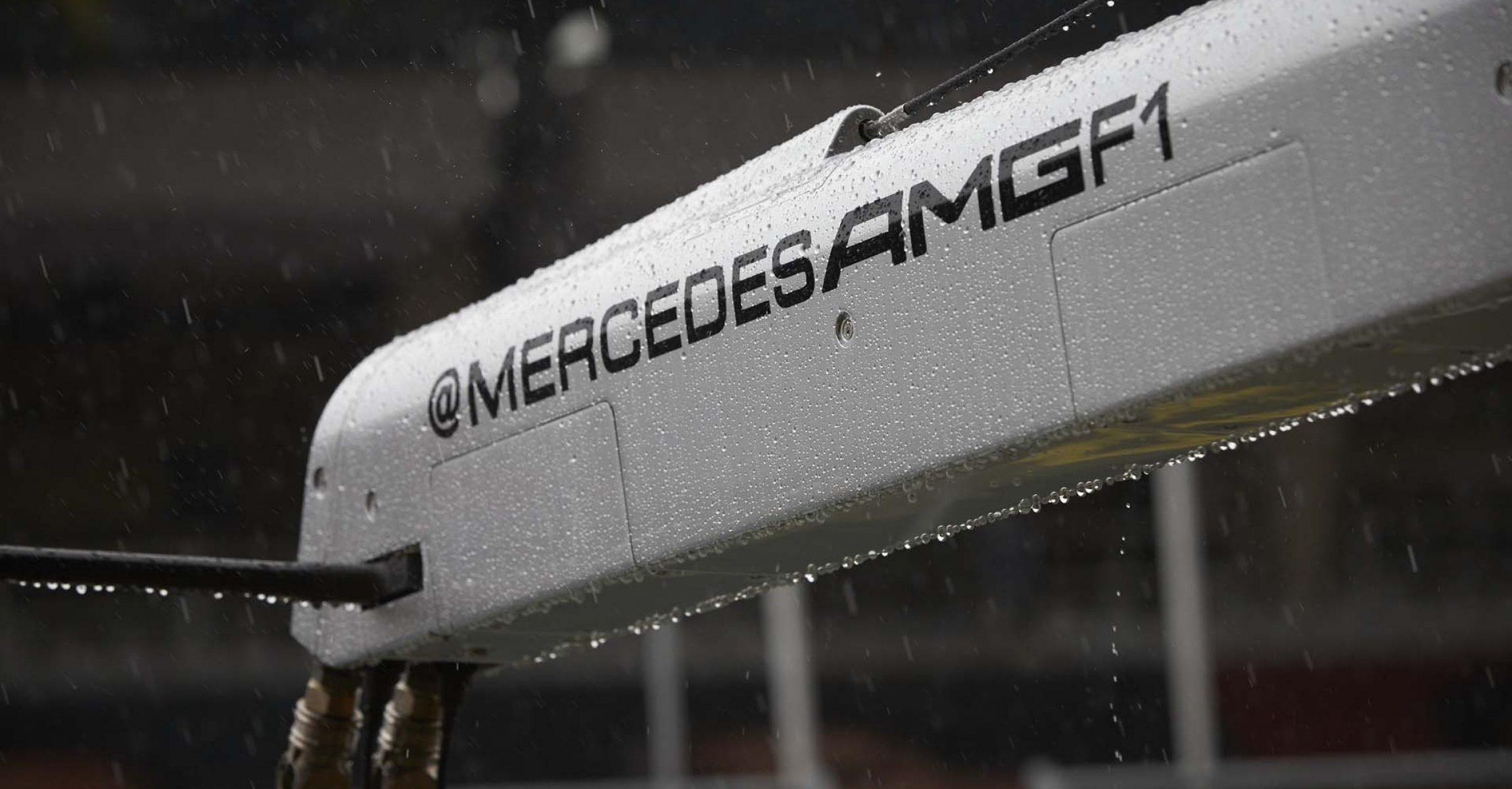 2020 Styrian Grand Prix, Saturday - Steve Etherington Mercedes AMG F1 Logo rain wet