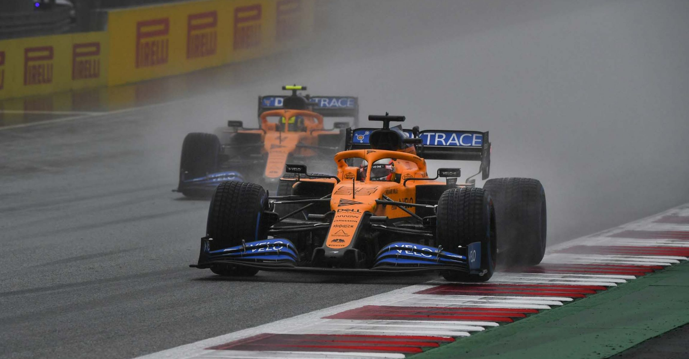 RED BULL RING, AUSTRIA - JULY 11: Carlos Sainz, McLaren MCL35, leads Lando Norris, McLaren MCL35 during the Styrian GP at Red Bull Ring on Saturday July 11, 2020 in Spielberg, Austria. (Photo by Mark Sutton / LAT Images)