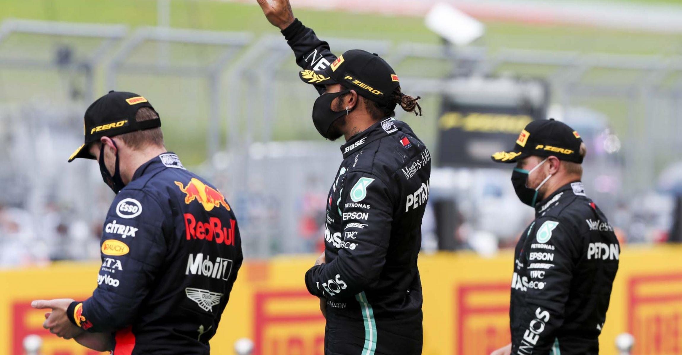 2020 Styrian Grand Prix, Sunday - LAT Images Lewis Hamilton, Valtteri Bottas, Max Verstappen