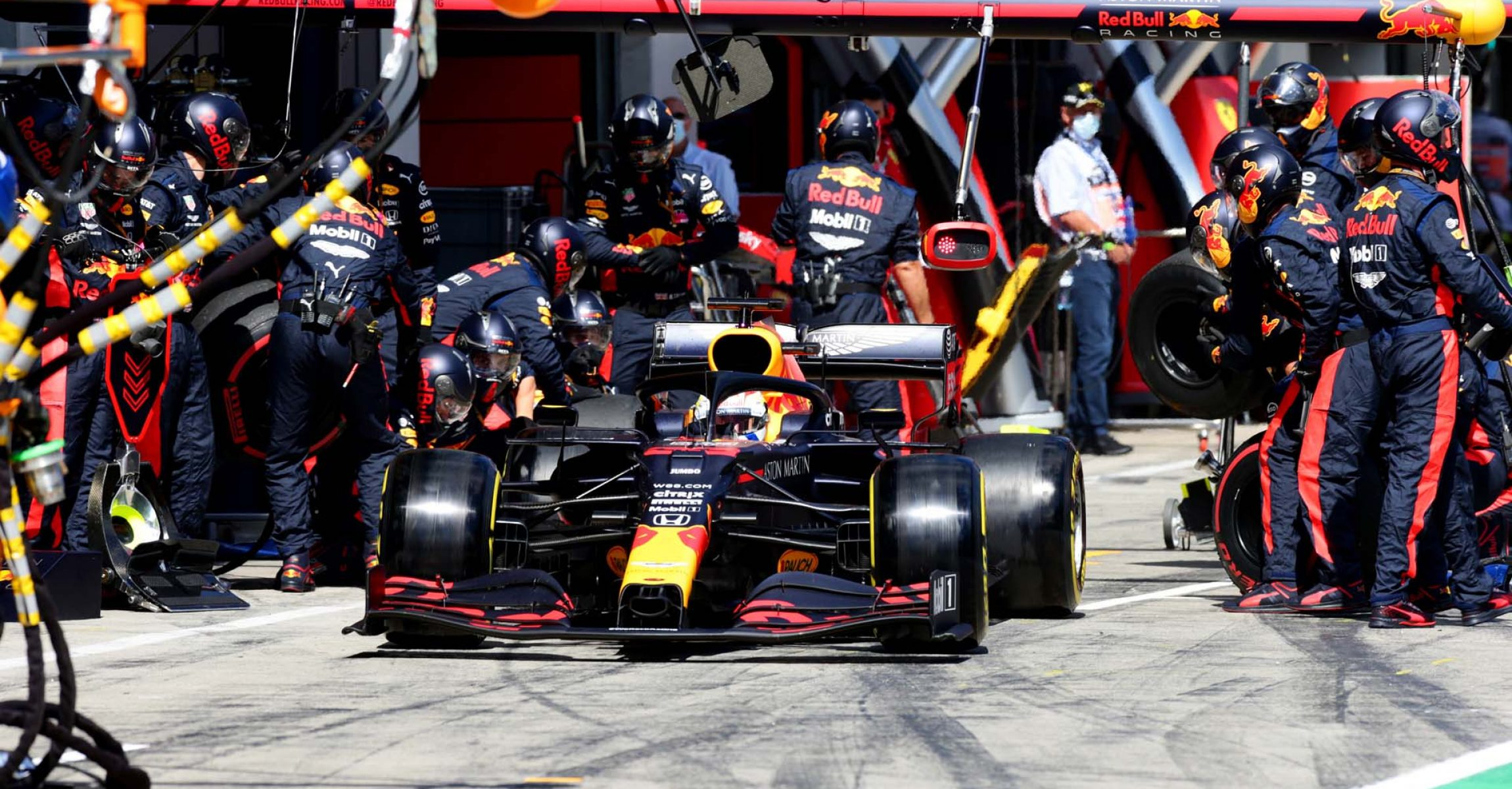 SPIELBERG, AUSTRIA - JULY 12: Max Verstappen of the Netherlands driving the (33) Aston Martin Red Bull Racing RB16 leaves the pits during the Formula One Grand Prix of Styria at Red Bull Ring on July 12, 2020 in Spielberg, Austria. (Photo by Peter Fox/Getty Images) // Getty Images / Red Bull Content Pool // AP-24KXPJVFD2111 // Usage for editorial use only //