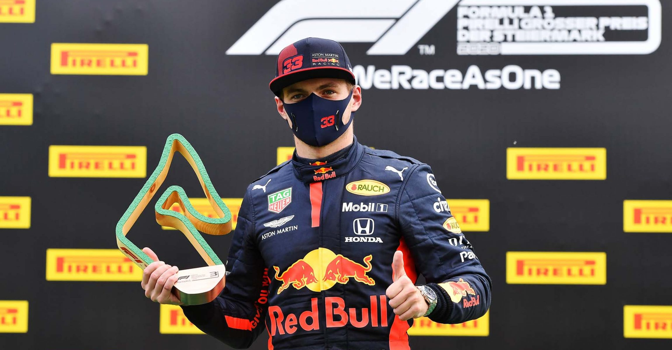 SPIELBERG, AUSTRIA - JULY 12: Third placed Max Verstappen of Netherlands and Red Bull Racing celebrates on the podium following the Formula One Grand Prix of Styria at Red Bull Ring on July 12, 2020 in Spielberg, Austria. (Photo by Joe Klamar/Pool via Getty Images) // Getty Images / Red Bull Content Pool  // AP-24KY27X8N1W11 // Usage for editorial use only //