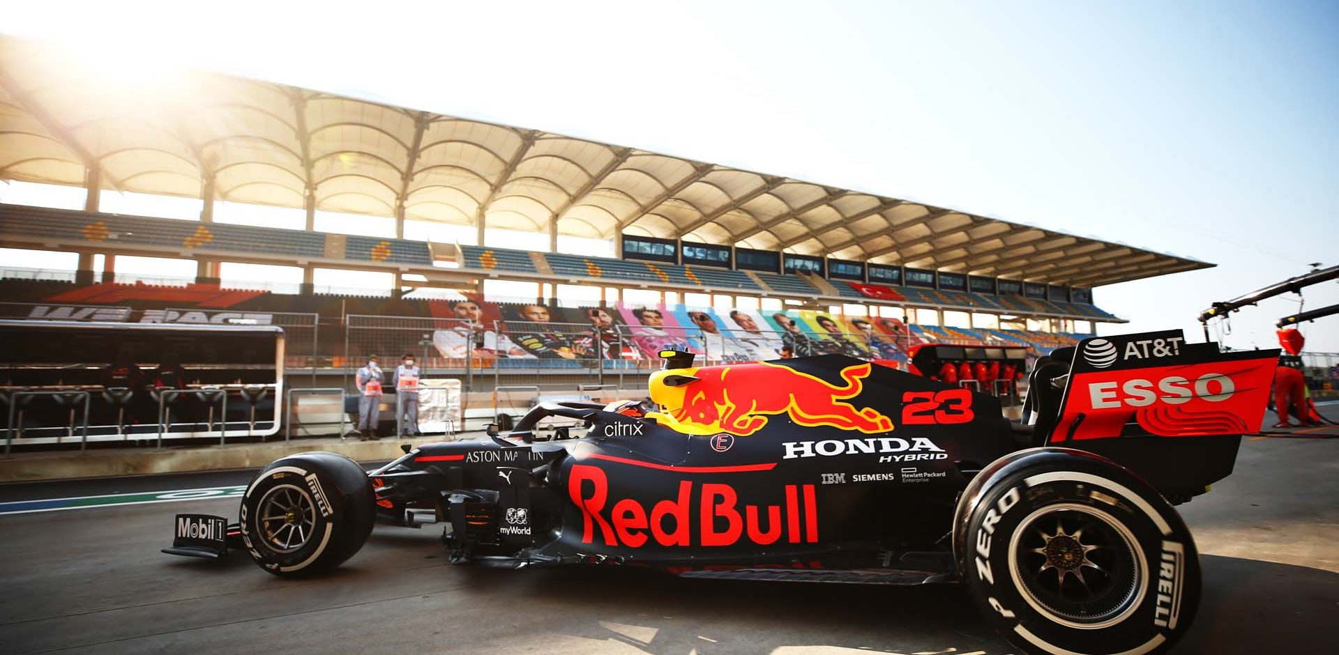 ISTANBUL, TURKEY - NOVEMBER 13: Alexander Albon of Thailand driving the (23) Aston Martin Red Bull Racing RB16 leaves the garage during practice ahead of the F1 Grand Prix of Turkey at Intercity Istanbul Park on November 13, 2020 in Istanbul, Turkey. (Photo by Bryn Lennon/Getty Images)