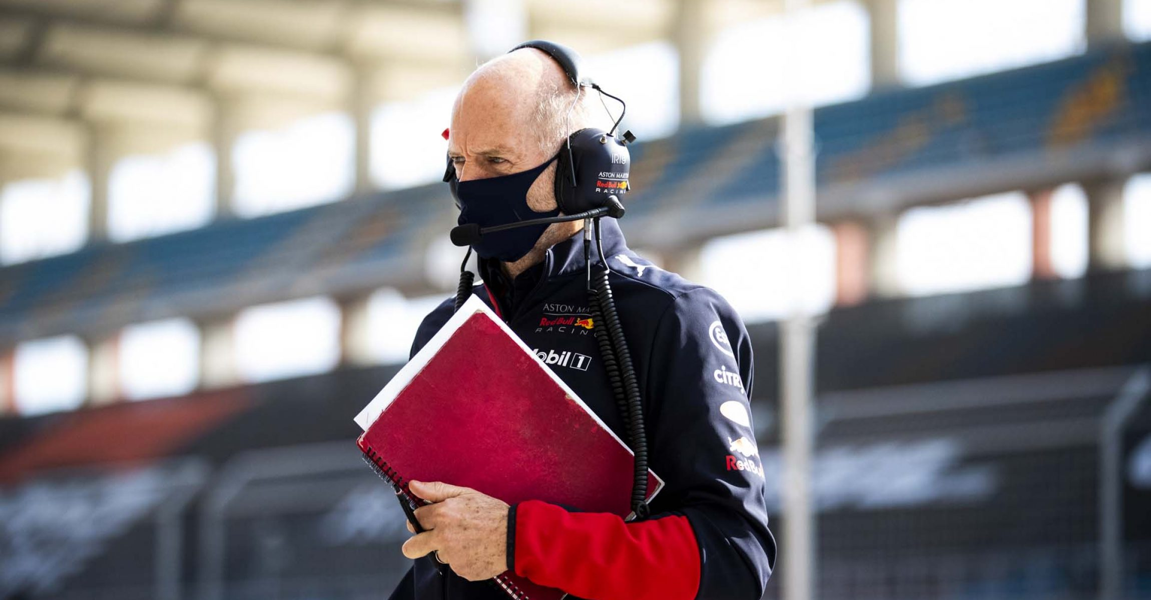 ISTANBUL, TURKEY - NOVEMBER 13: Adrian Newey, the Chief Technical Officer of Red Bull Racing looks on from the pitlane during practice ahead of the F1 Grand Prix of Turkey at Intercity Istanbul Park on November 13, 2020 in Istanbul, Turkey. (Photo by Bryn Lennon/Getty Images)