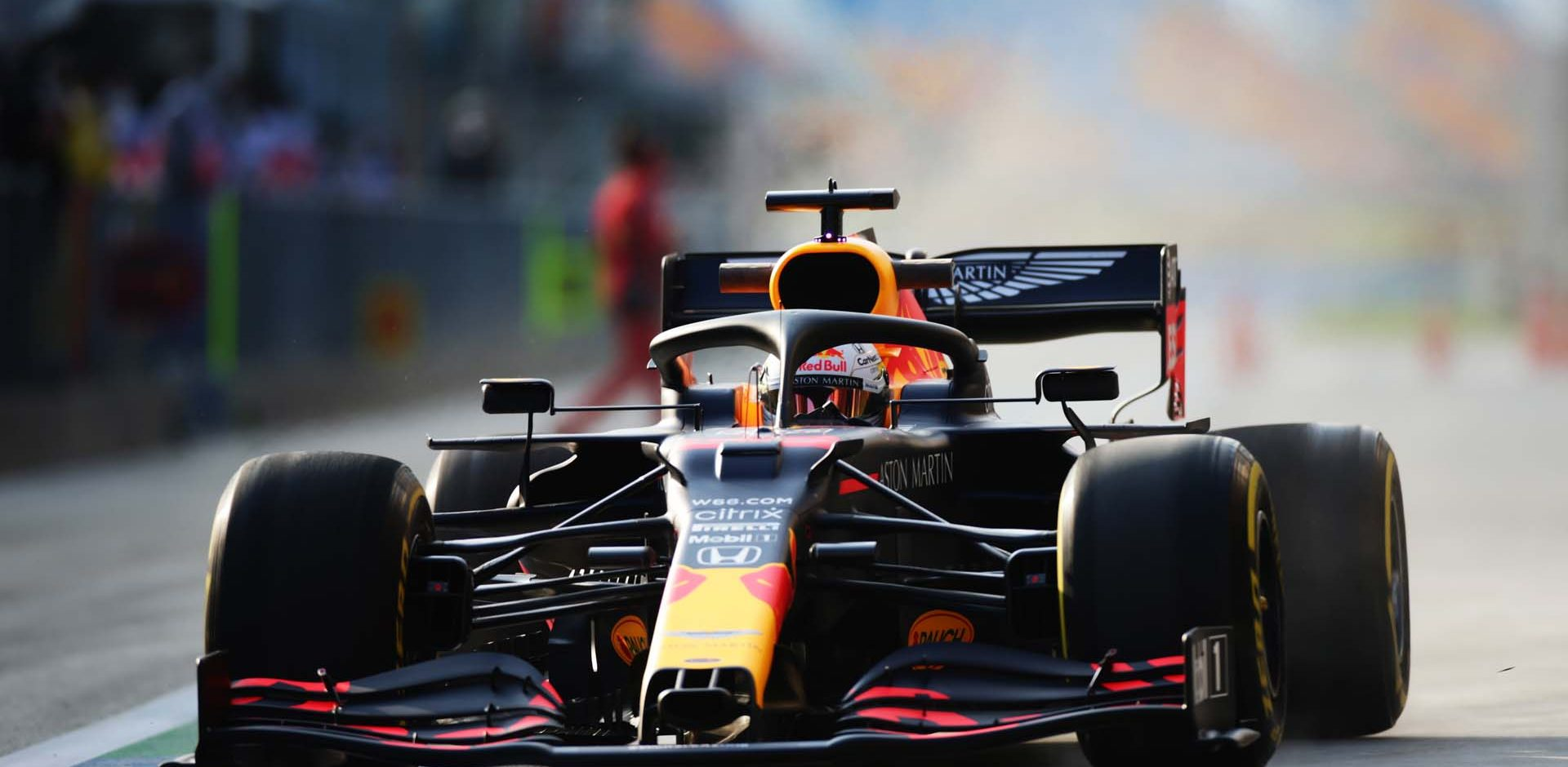 ISTANBUL, TURKEY - NOVEMBER 13: Max Verstappen of the Netherlands driving the (33) Aston Martin Red Bull Racing RB16 in the Pitlane during practice ahead of the F1 Grand Prix of Turkey at Intercity Istanbul Park on November 13, 2020 in Istanbul, Turkey. (Photo by Peter Fox/Getty Images)