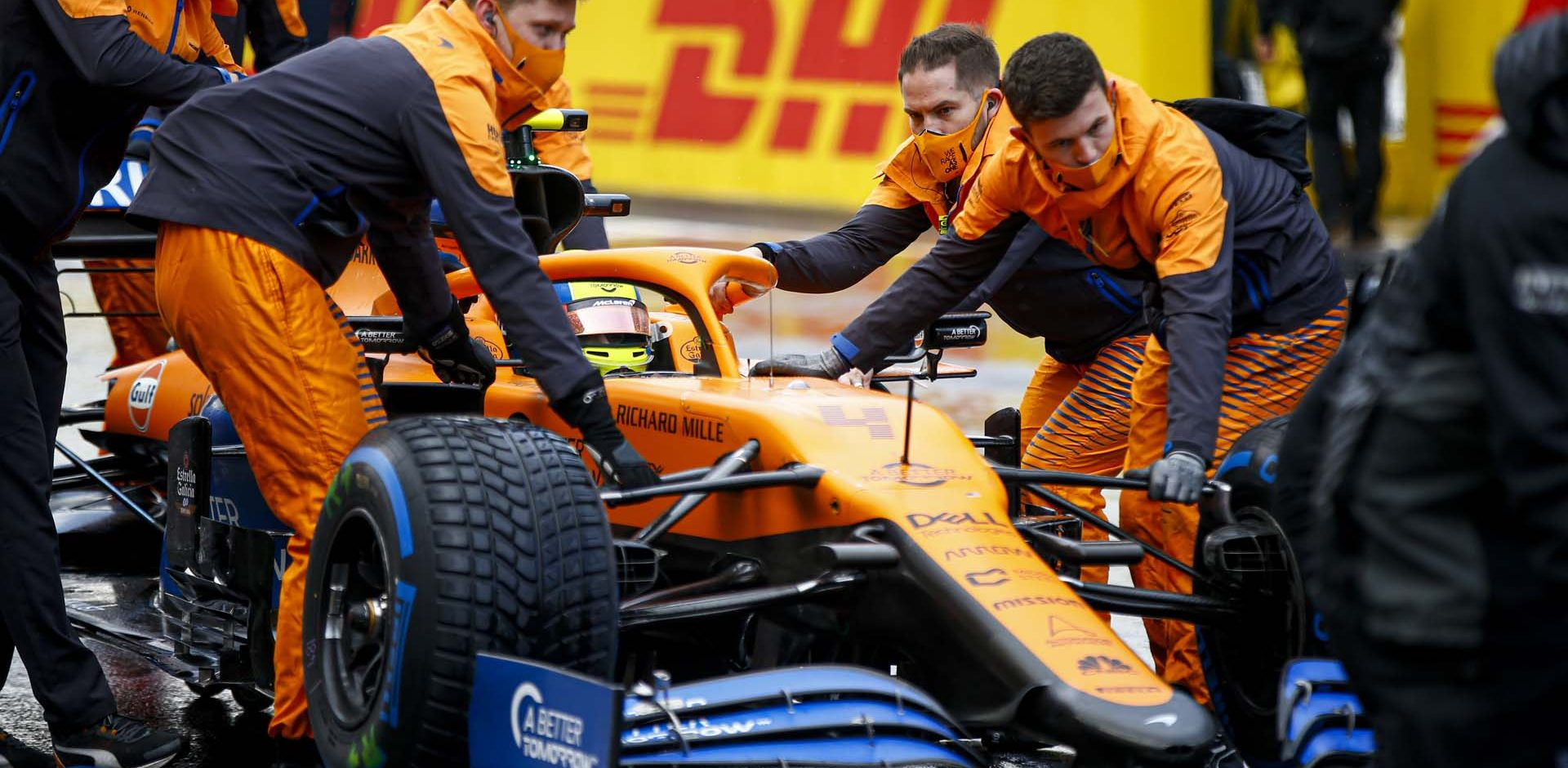 ISTANBUL PARK, TURKEY - NOVEMBER 15: Lando Norris, McLaren MCL35 on the grid during the Turkish GP at Istanbul Park on Sunday November 15, 2020, Turkey. (Photo by Andy Hone / LAT Images)