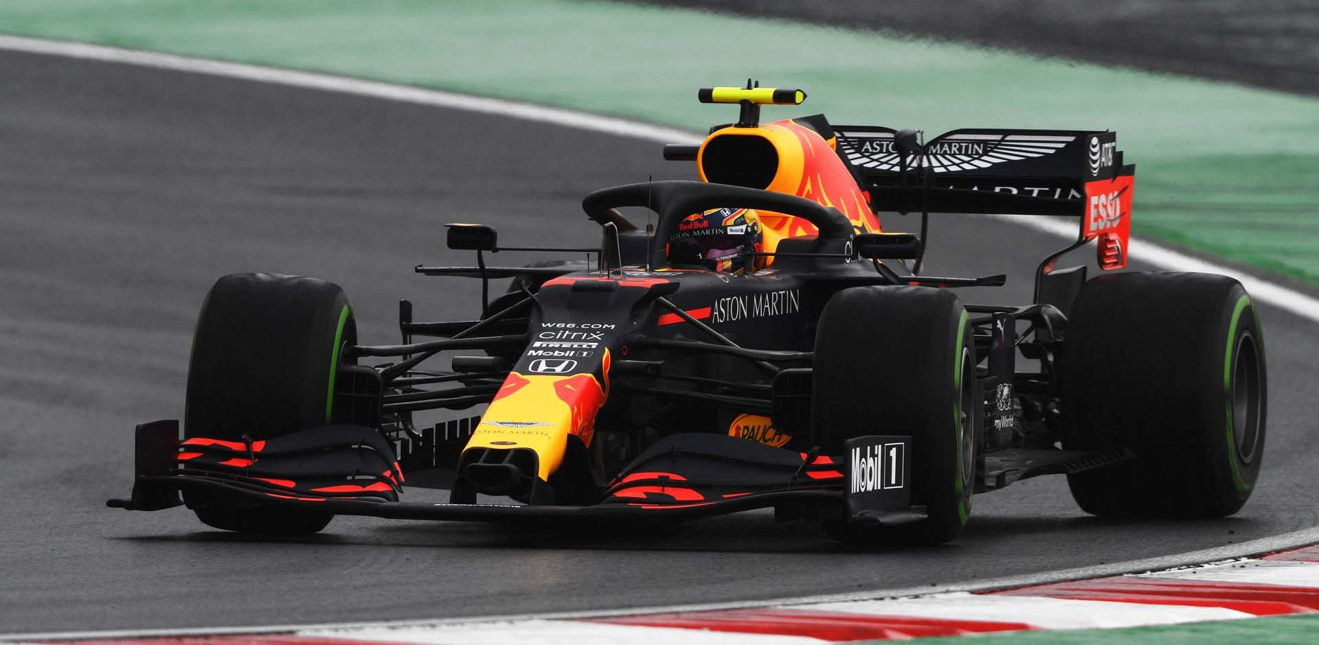 ISTANBUL, TURKEY - NOVEMBER 14: Alexander Albon of Thailand driving the (23) Aston Martin Red Bull Racing RB16 on track during final practice ahead of the F1 Grand Prix of Turkey at Intercity Istanbul Park on November 14, 2020 in Istanbul, Turkey. (Photo by Rudy Carezzevoli/Getty Images)
