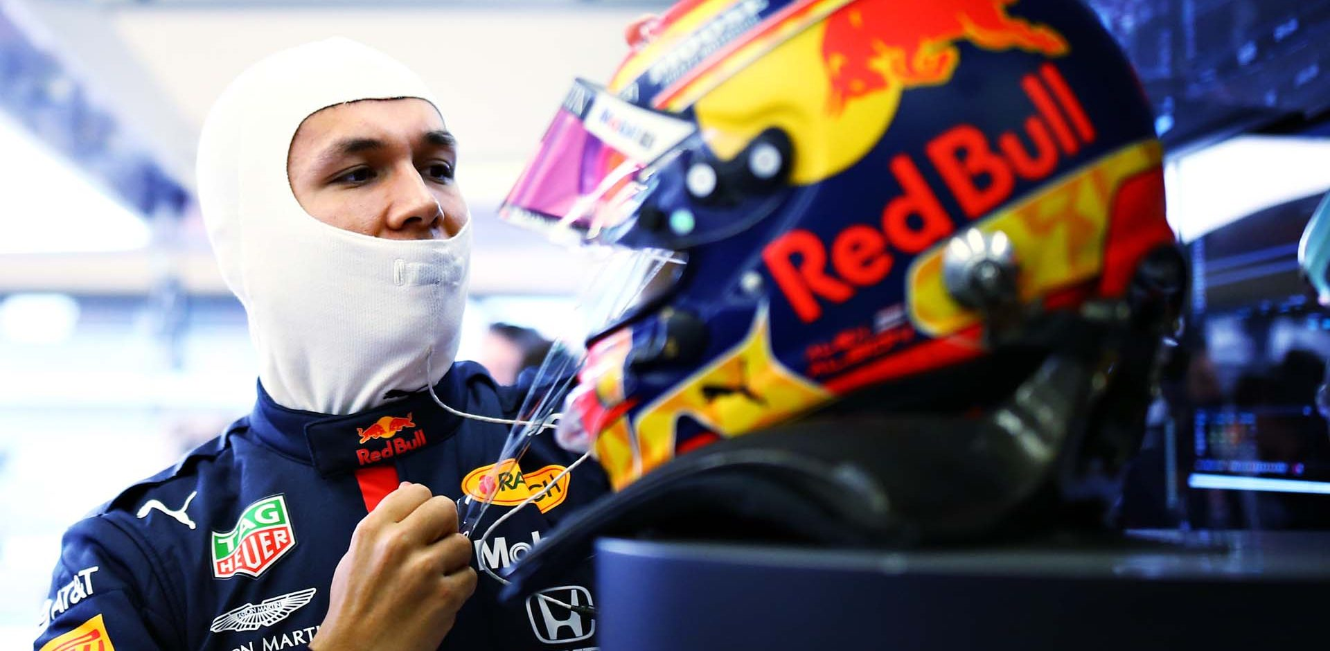 ISTANBUL, TURKEY - NOVEMBER 14: Alexander Albon of Thailand and Red Bull Racing prepares to drive in the garage during final practice ahead of the F1 Grand Prix of Turkey at Intercity Istanbul Park on November 14, 2020 in Istanbul, Turkey. (Photo by Bryn Lennon/Getty Images)