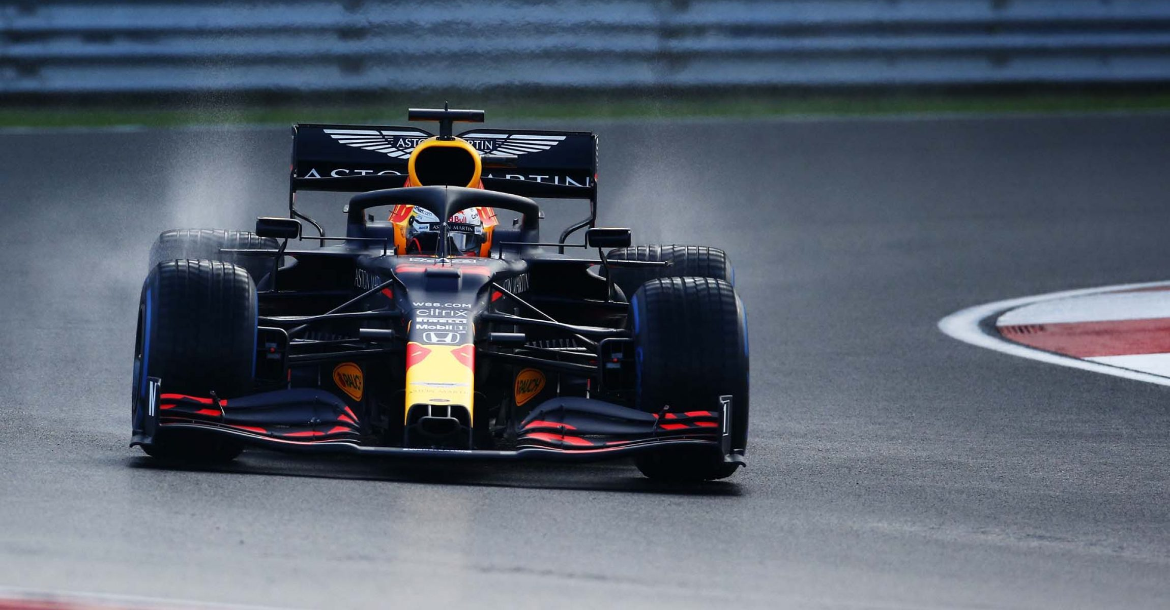 ISTANBUL, TURKEY - NOVEMBER 14: Max Verstappen of the Netherlands driving the (33) Aston Martin Red Bull Racing RB16 on track during qualifying ahead of the F1 Grand Prix of Turkey at Intercity Istanbul Park on November 14, 2020 in Istanbul, Turkey. (Photo by Kenan Asyali - Pool/Getty Images)