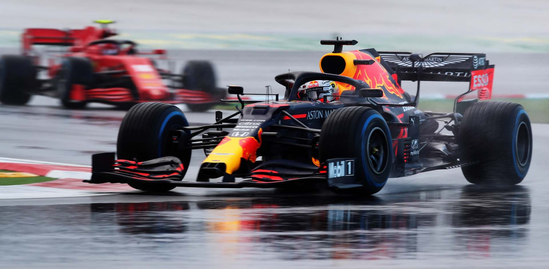 ISTANBUL, TURKEY - NOVEMBER 14: Max Verstappen of the Netherlands driving the (33) Aston Martin Red Bull Racing RB16 on track during qualifying ahead of the F1 Grand Prix of Turkey at Intercity Istanbul Park on November 14, 2020 in Istanbul, Turkey. (Photo by Tolga Bozoglu - Pool/Getty Images)