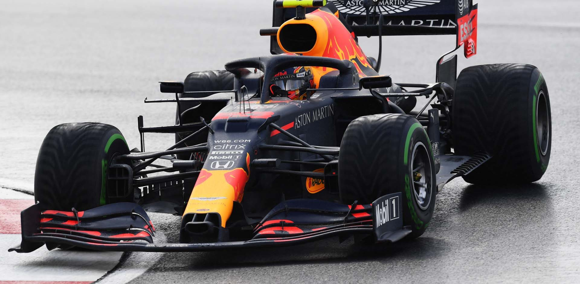 ISTANBUL, TURKEY - NOVEMBER 15: Alexander Albon of Thailand driving the (23) Aston Martin Red Bull Racing RB16 on track during the F1 Grand Prix of Turkey at Intercity Istanbul Park on November 15, 2020 in Istanbul, Turkey. (Photo by Clive Mason/Getty Images)