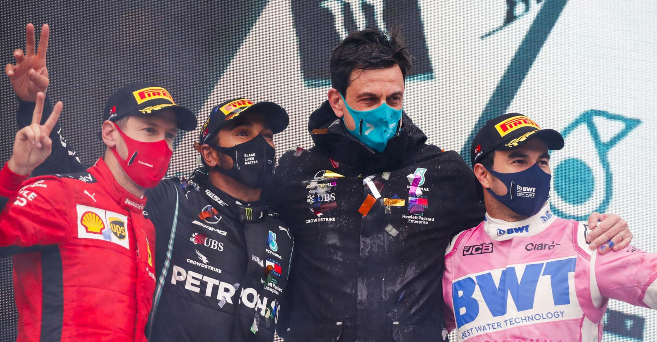 Sebastian Vettel, Ferrari, Race Winner Lewis Hamilton, Mercedes-AMG Petronas F1, Toto Wolff, Executive Director (Business), Mercedes AMG and Sergio Perez, Racing Point celebrate on the podium
