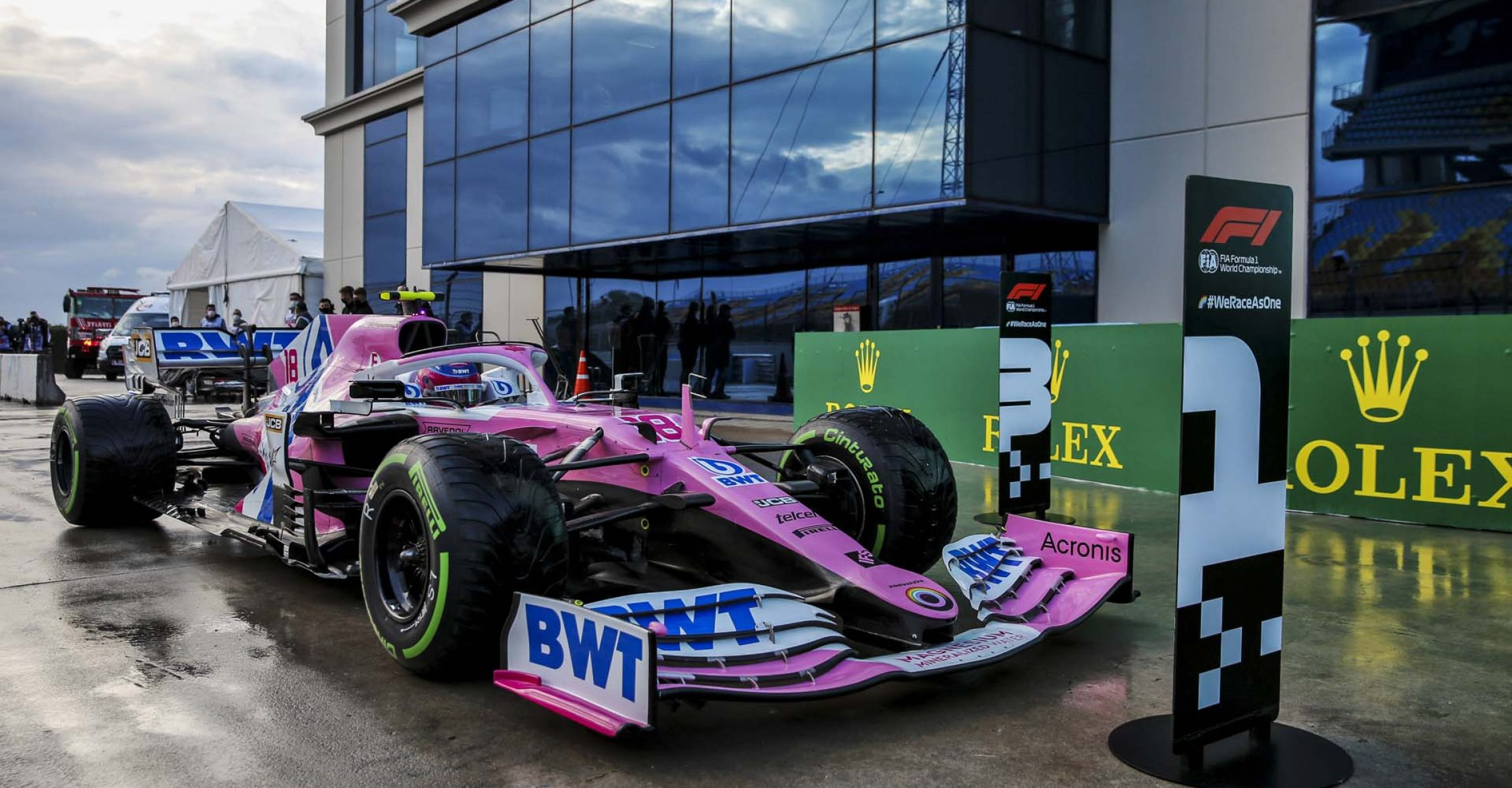 Car of Pole Sitter Lance Stroll, Racing Point in Parc Ferme