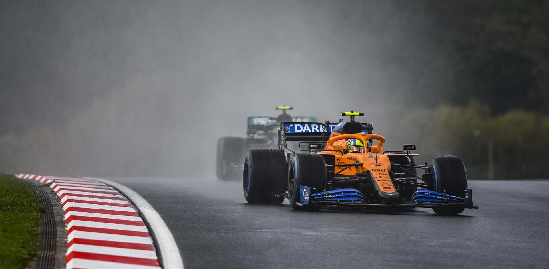 Lando Norris, McLaren MCL35, leads Valtteri Bottas, Mercedes F1 W11 EQ Performance