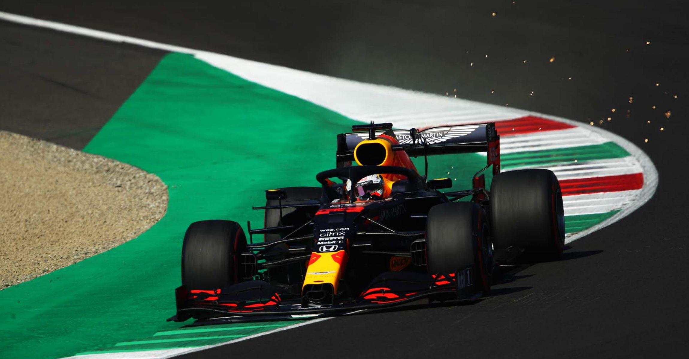 SCARPERIA, ITALY - SEPTEMBER 12: Max Verstappen of the Netherlands driving the (33) Aston Martin Red Bull Racing RB16 on track during qualifying for the F1 Grand Prix of Tuscany at Mugello Circuit on September 12, 2020 in Scarperia, Italy. (Photo by Bryn Lennon/Getty Images)