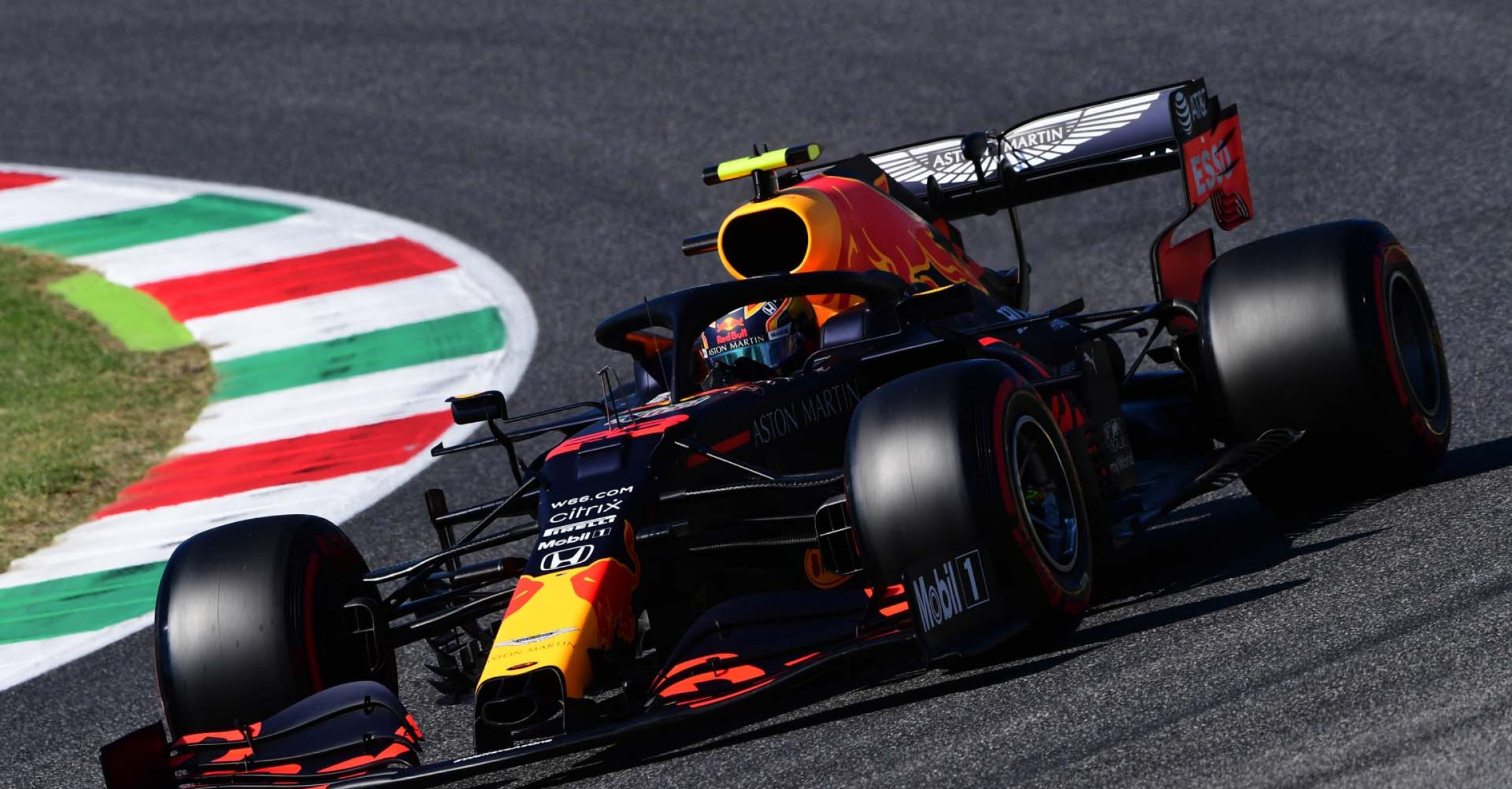 SCARPERIA, ITALY - SEPTEMBER 12: Alexander Albon of Thailand driving the (23) Aston Martin Red Bull Racing RB16 on track during qualifying for the F1 Grand Prix of Tuscany at Mugello Circuit on September 12, 2020 in Scarperia, Italy. (Photo by Jenifer Lorenzini - Pool/Getty Images)