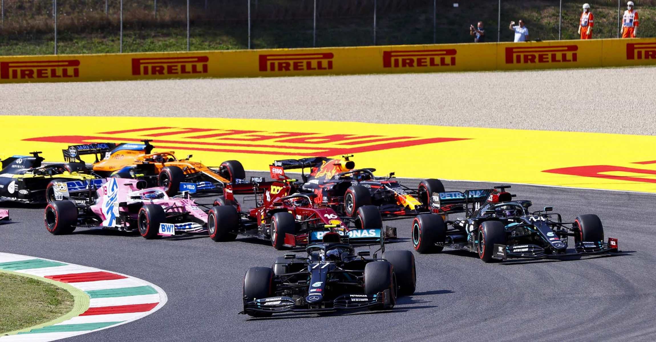 2020 Tuscan Grand Prix, Sunday - LAT Images start Valtteri Bottas Mercedes