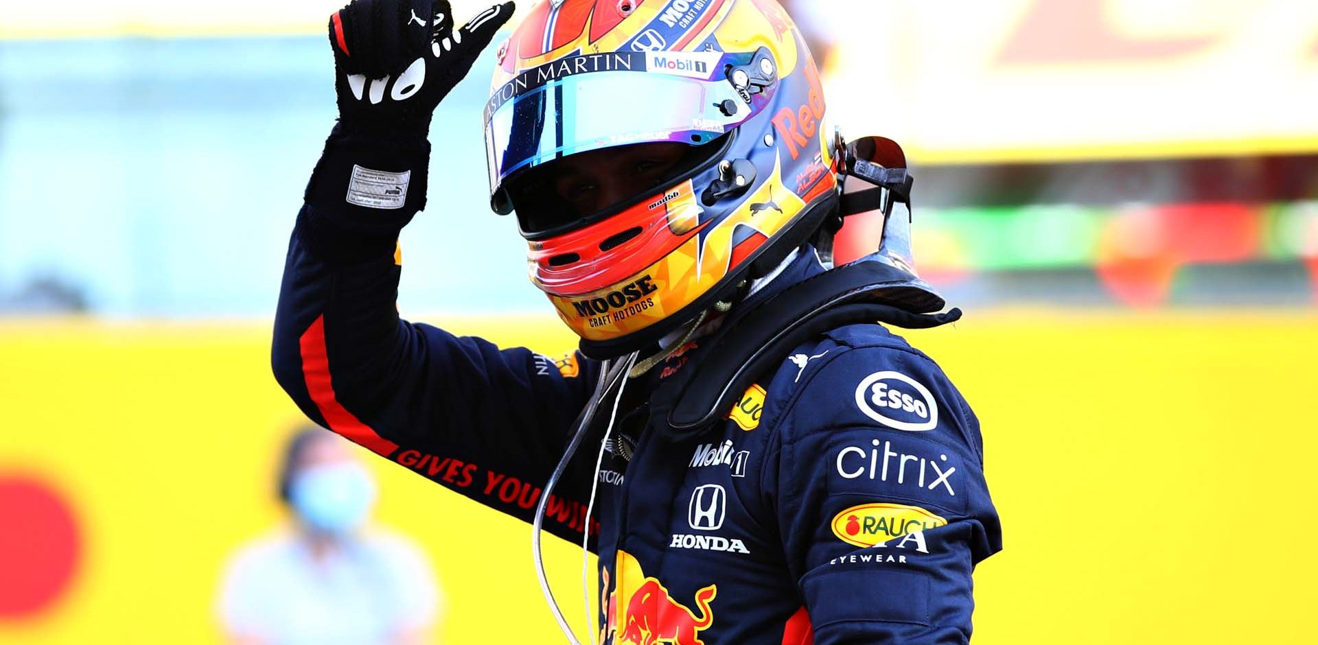 SCARPERIA, ITALY - SEPTEMBER 13: Third placed Alexander Albon of Thailand and Red Bull Racing celebrates in parc ferme during the F1 Grand Prix of Tuscany at Mugello Circuit on September 13, 2020 in Scarperia, Italy. (Photo by Mark Thompson/Getty Images)