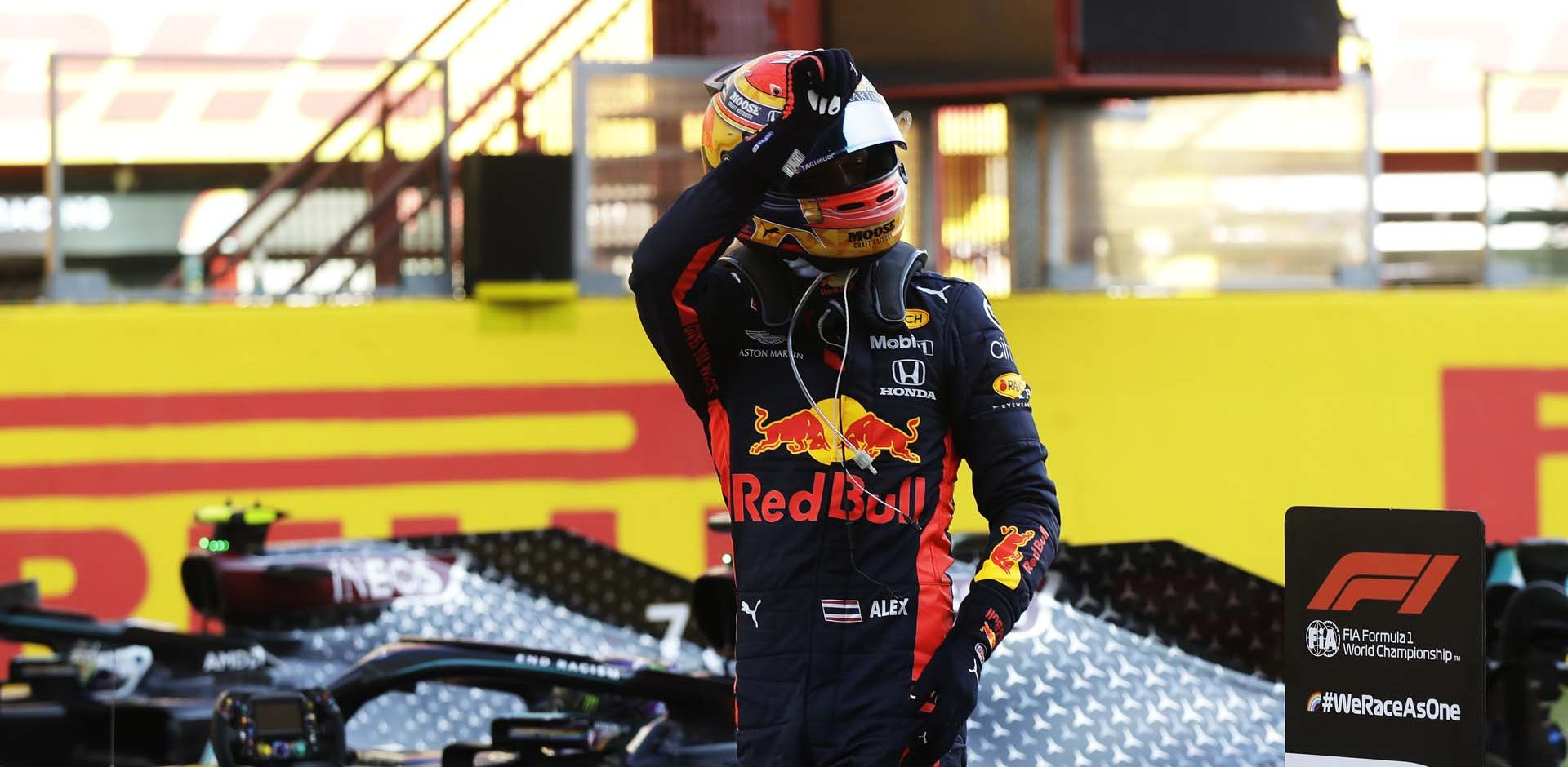 SCARPERIA, ITALY - SEPTEMBER 13: Third placed Alexander Albon of Thailand and Red Bull Racing celebrates in parc ferme during the F1 Grand Prix of Tuscany at Mugello Circuit on September 13, 2020 in Scarperia, Italy. (Photo by Luca Bruno - Pool/Getty Images)