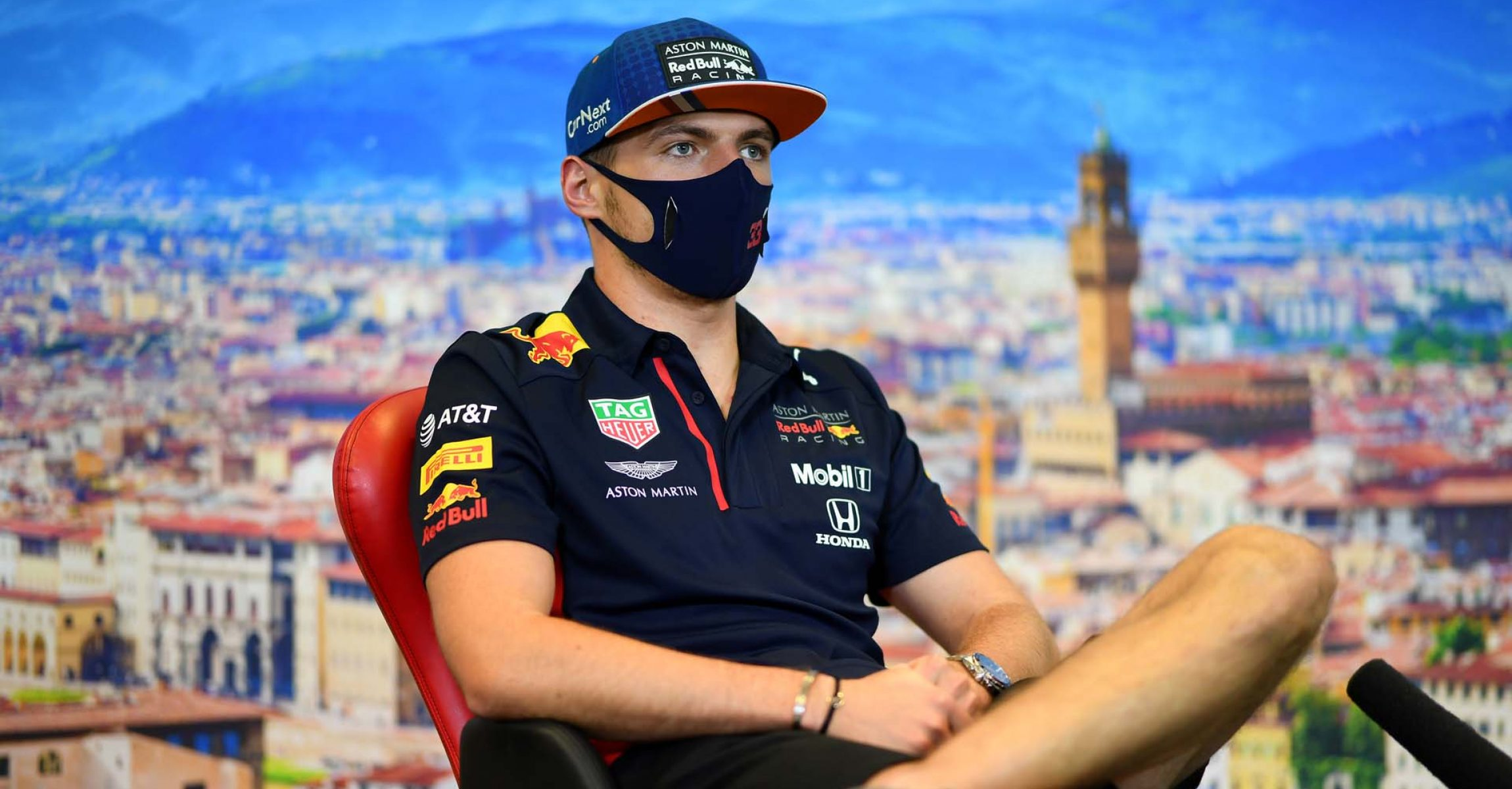 SCARPERIA, ITALY - SEPTEMBER 10: Max Verstappen of Netherlands and Red Bull Racing talks in the Drivers Press Conference during previews ahead of the F1 Grand Prix of Tuscany at Mugello Circuit on September 10, 2020 in Scarperia, Italy. (Photo by Getty Images/Getty Images)
