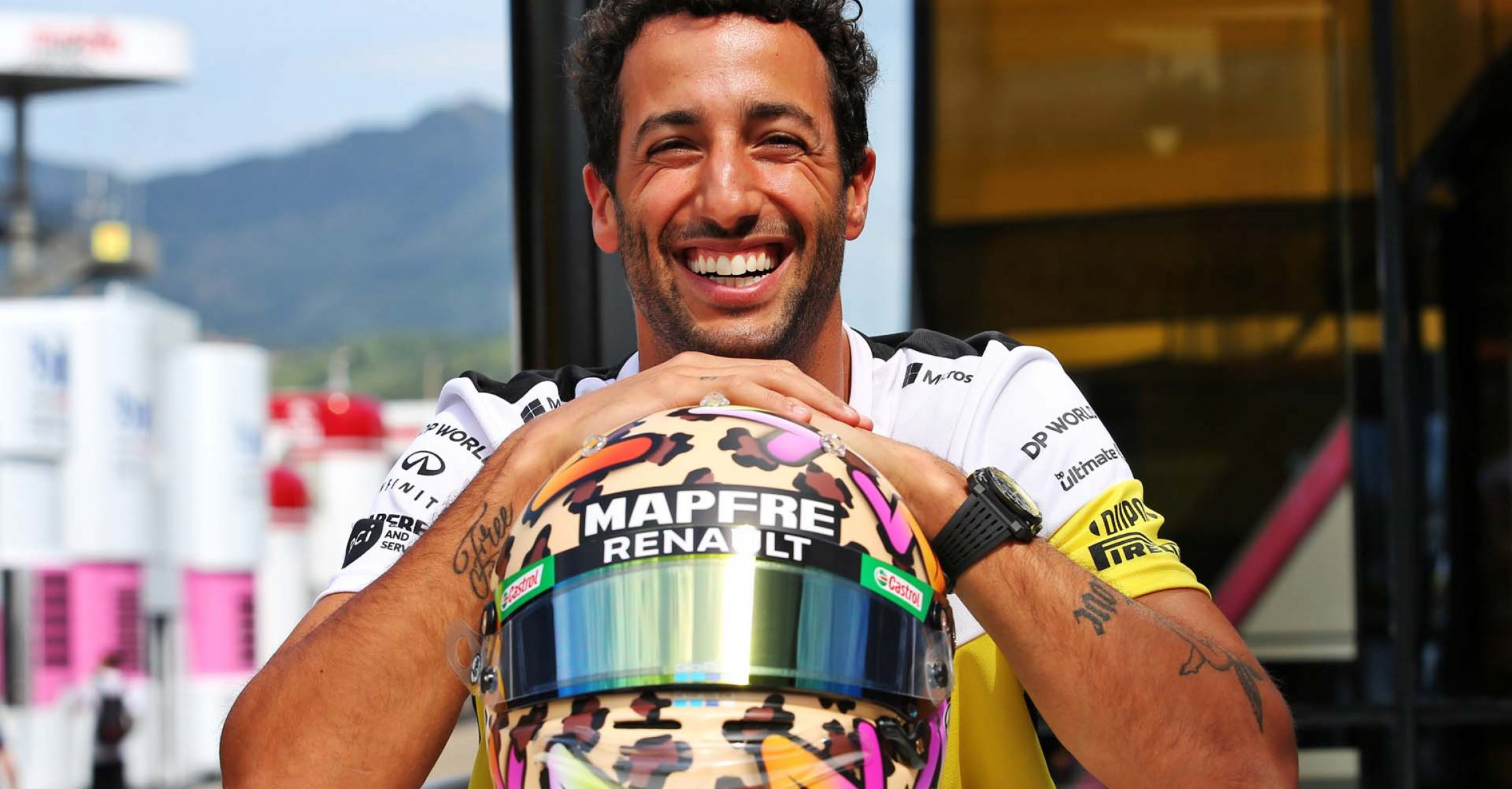 Daniel Ricciardo (AUS) Renault F1 Team with his helmet. Tuscan Grand Prix, Thursday 10th September 2020. Mugello Italy.
